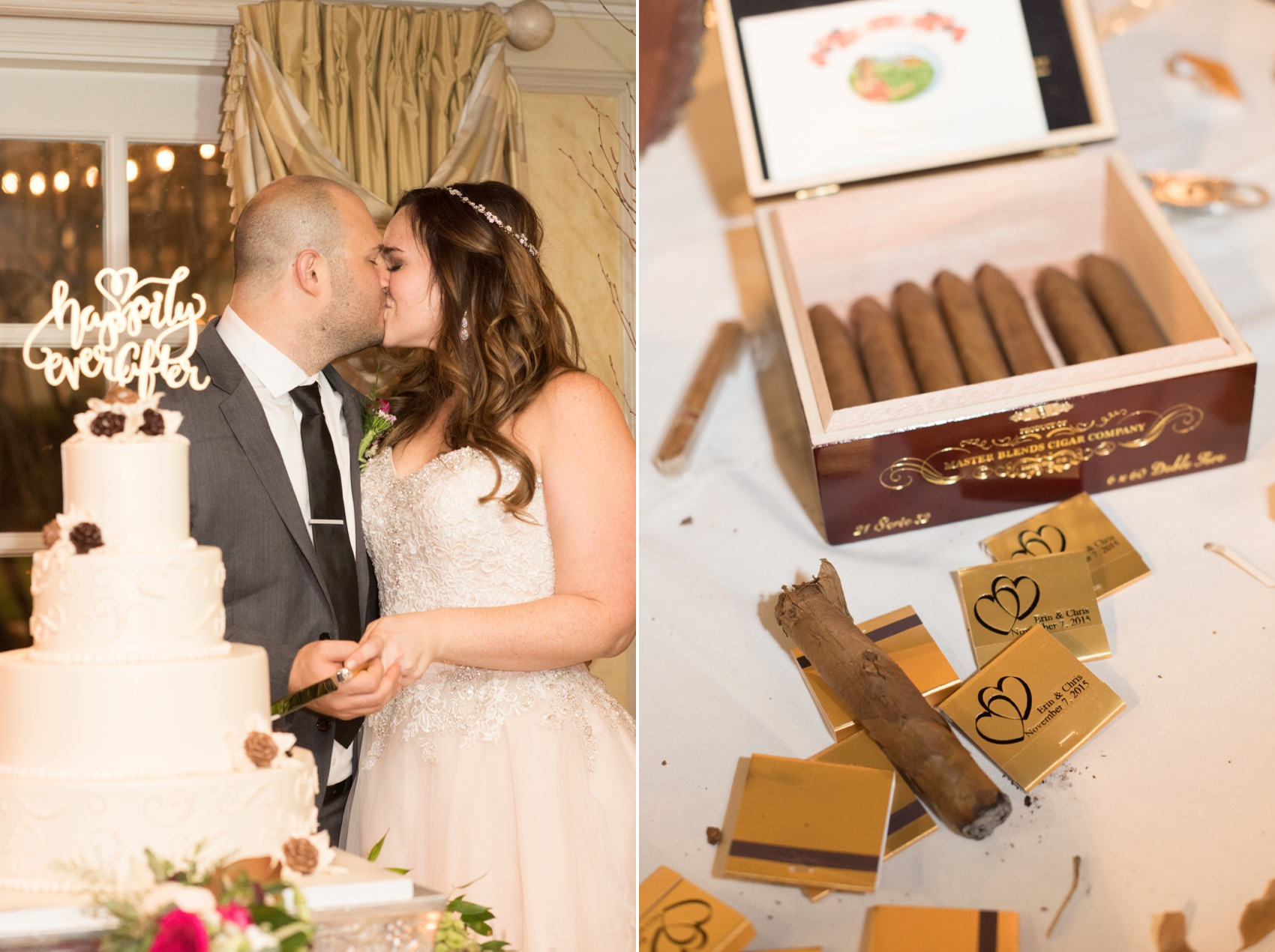 Olde Mill Inn wedding ceremony by Mikkel Paige Photography, NYC and Raleigh wedding photographer. Cake cutting and custom matchbooks and cigar bar.