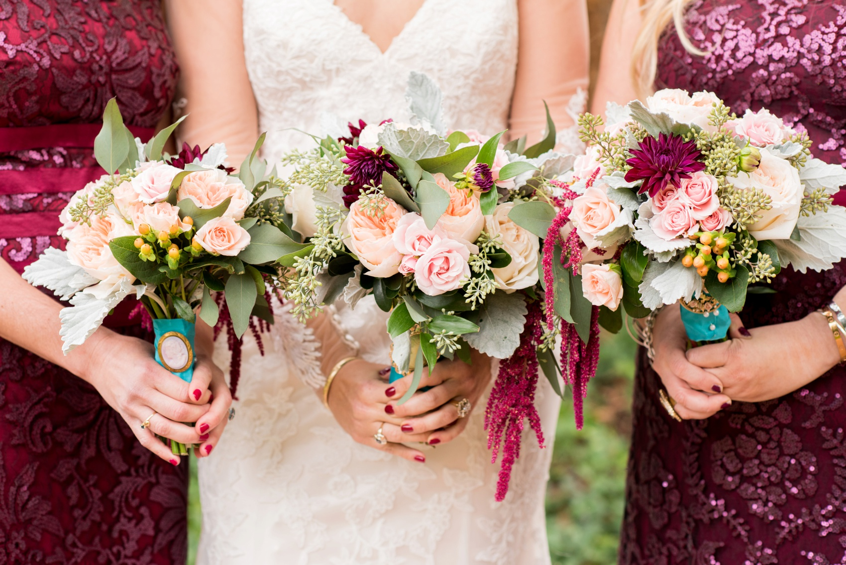 The Carolina Inn wedding photos by Mikkel Paige Photography, Raleigh wedding photographer. Planning by A Swanky Affair and flowers by Tres Bella. Bridesmaids in burgundy sequins.