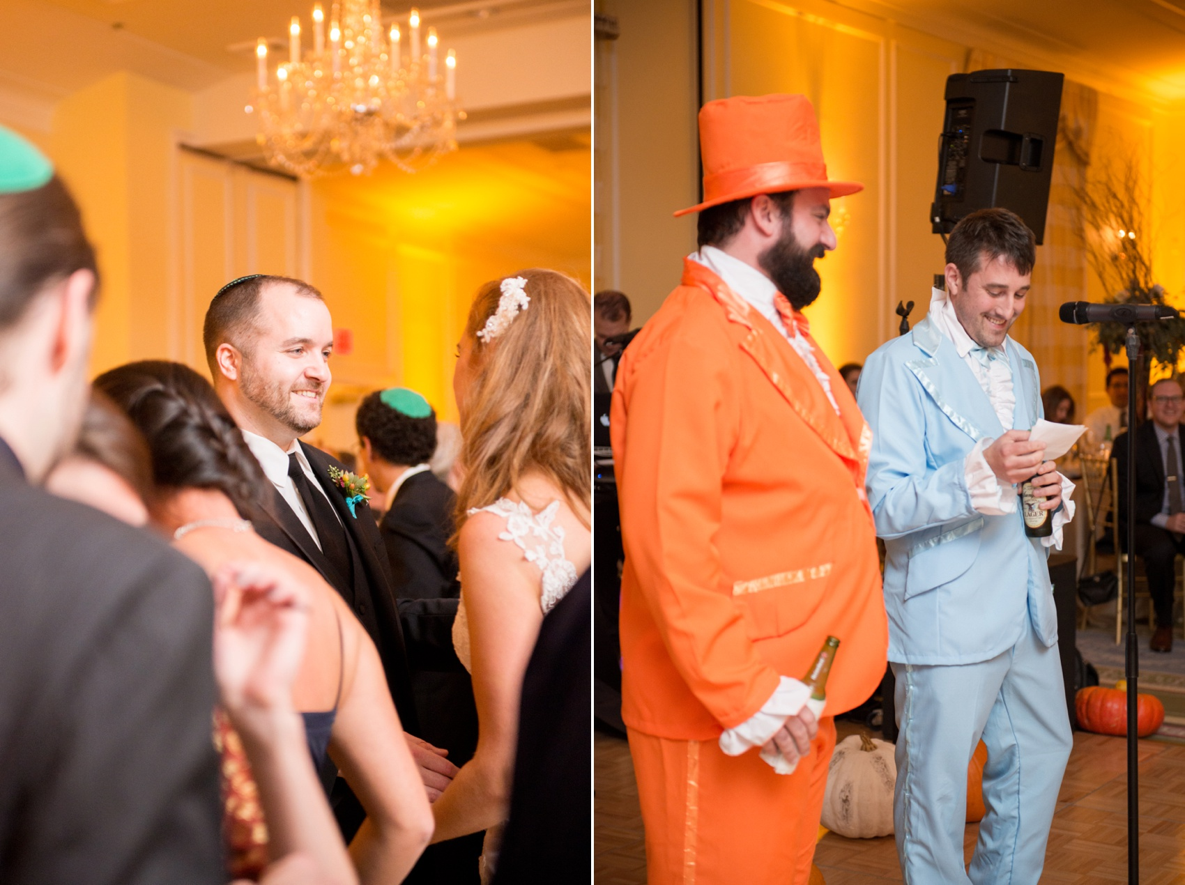 The Carolina Inn wedding photos by Mikkel Paige Photography, Raleigh wedding photographer. Dumb and Dumber inspired Halloween weekend costumes for the best man speeches.
