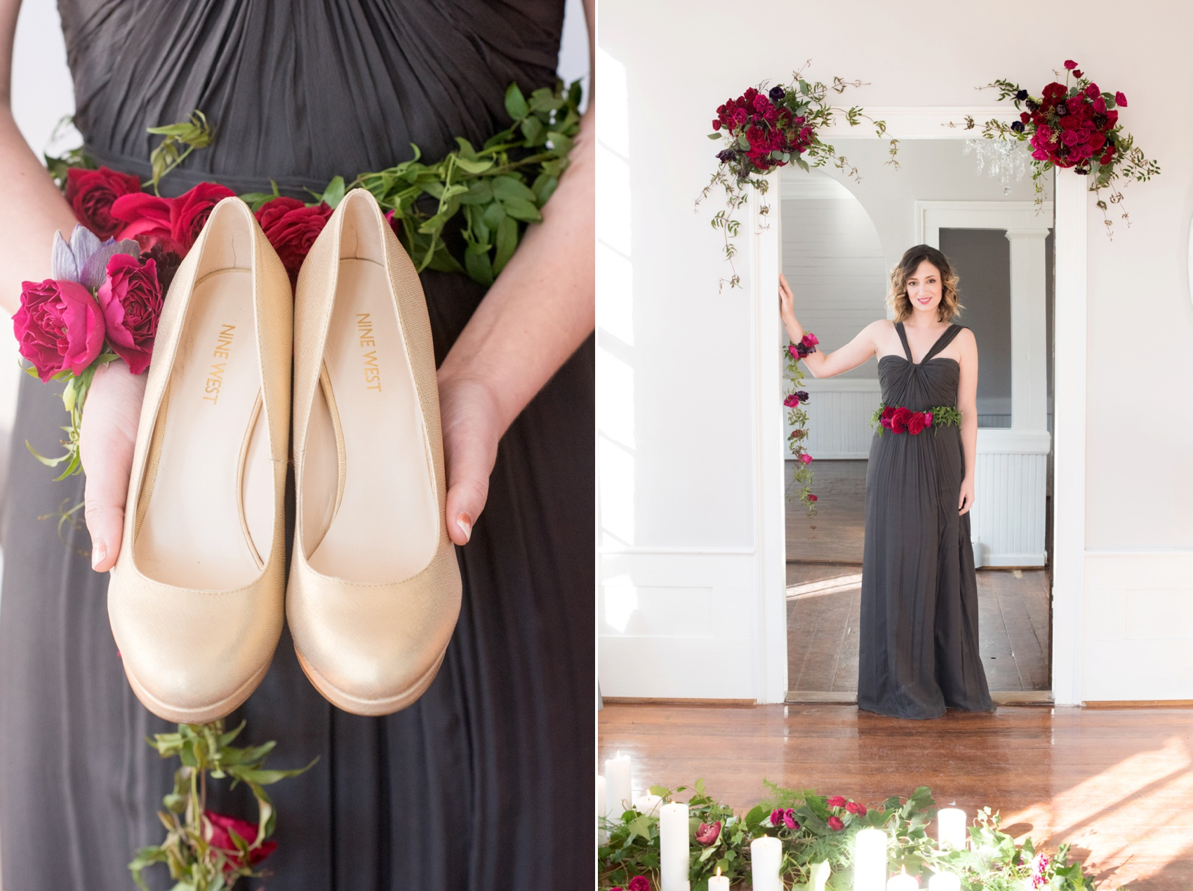 Mim's House NC proposal photos by Mikkel Paige Photography. Floral design of red roses and purple anemones with gold wedding shoes and grey Amsale gown.
