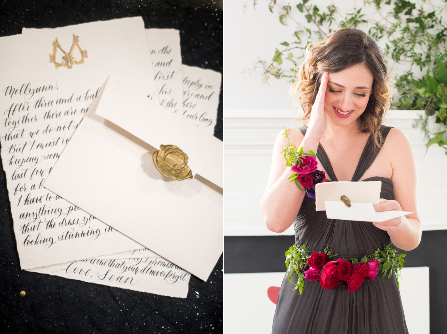 Mim's House NC proposal photos by Mikkel Paige Photography. Calligraphy love letter for the bride in a grey Amsale gown.