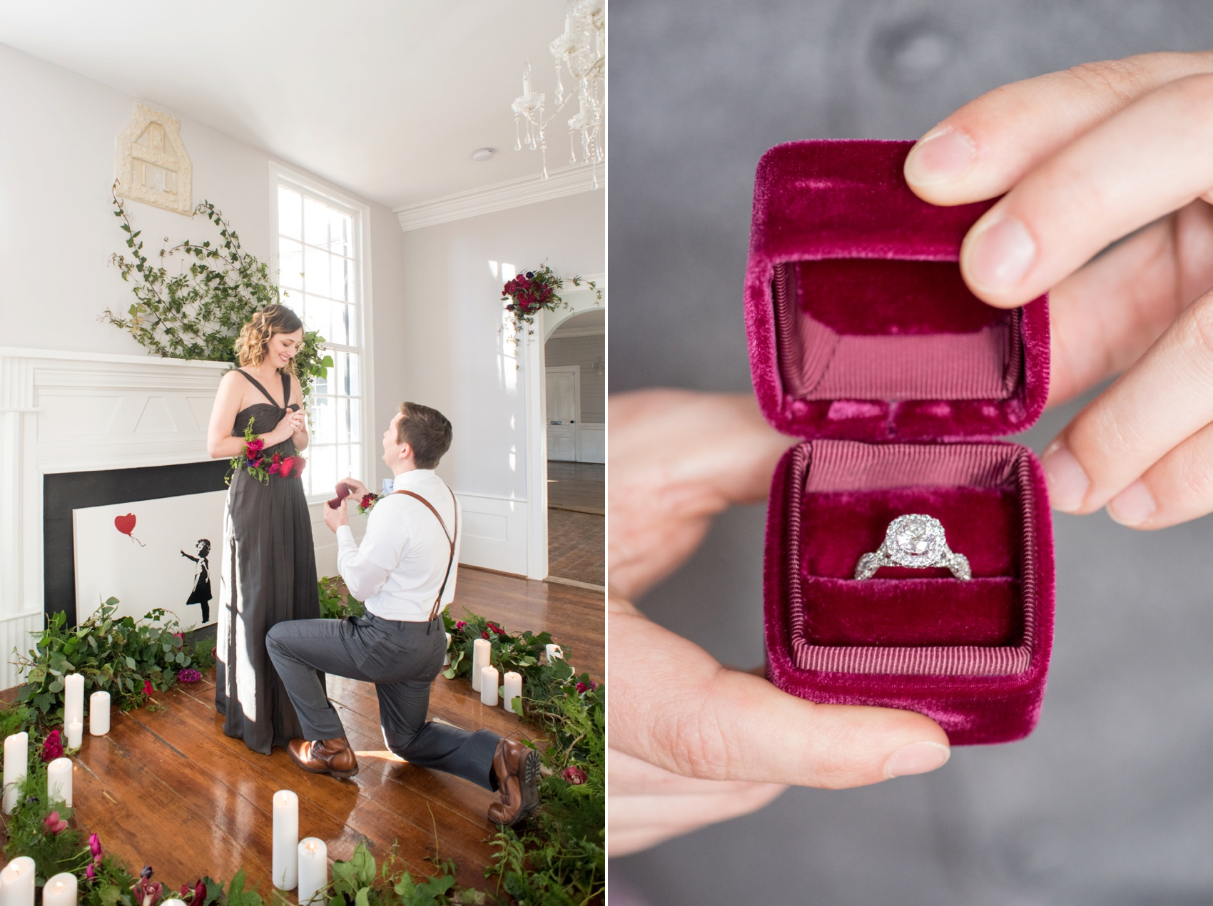 Leslie-Alford Mim's House NC marriage proposal photos by Mikkel Paige Photography. Red velvet diamond ring box.