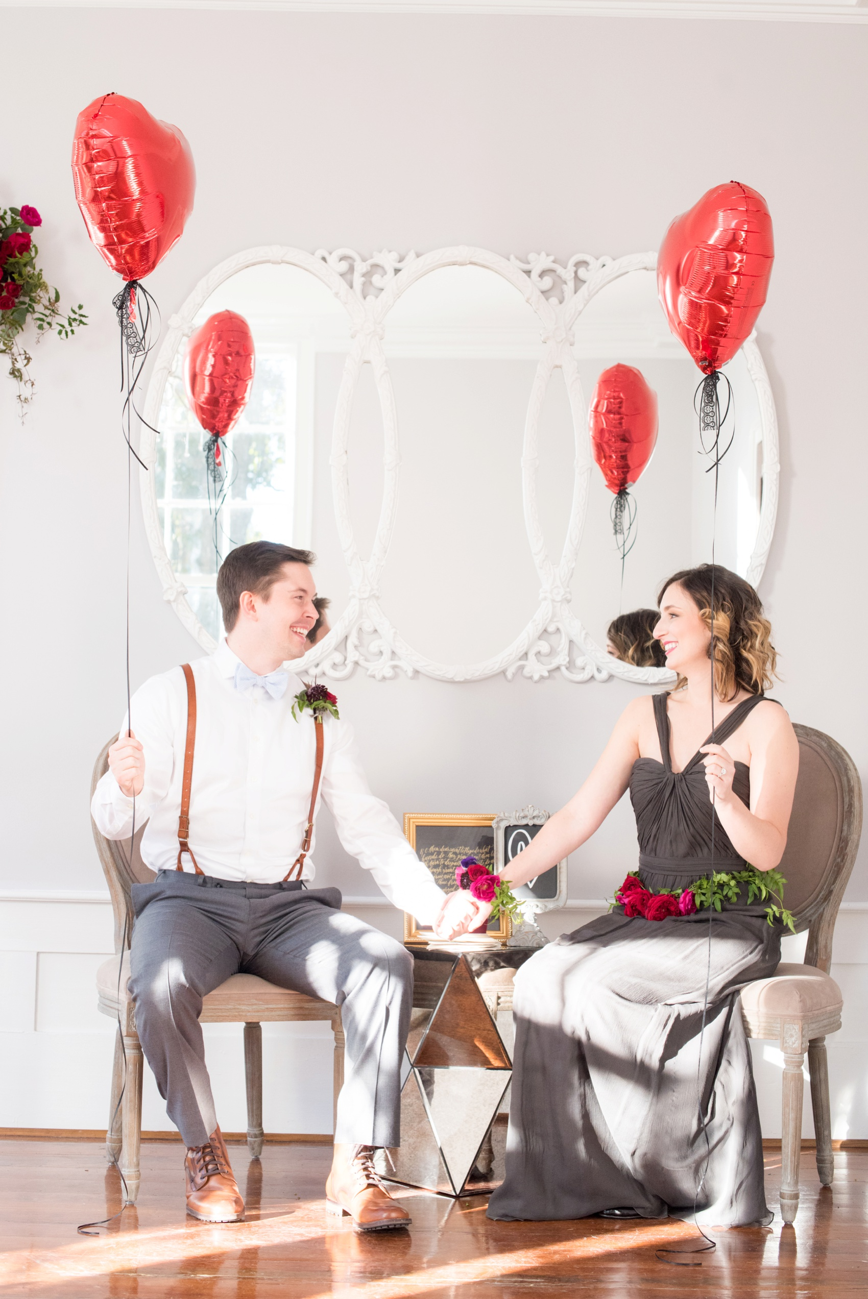 Leslie-Alford Mim's House NC marriage proposal photos by Mikkel Paige Photography. Red balloons and grey Amsale gown.