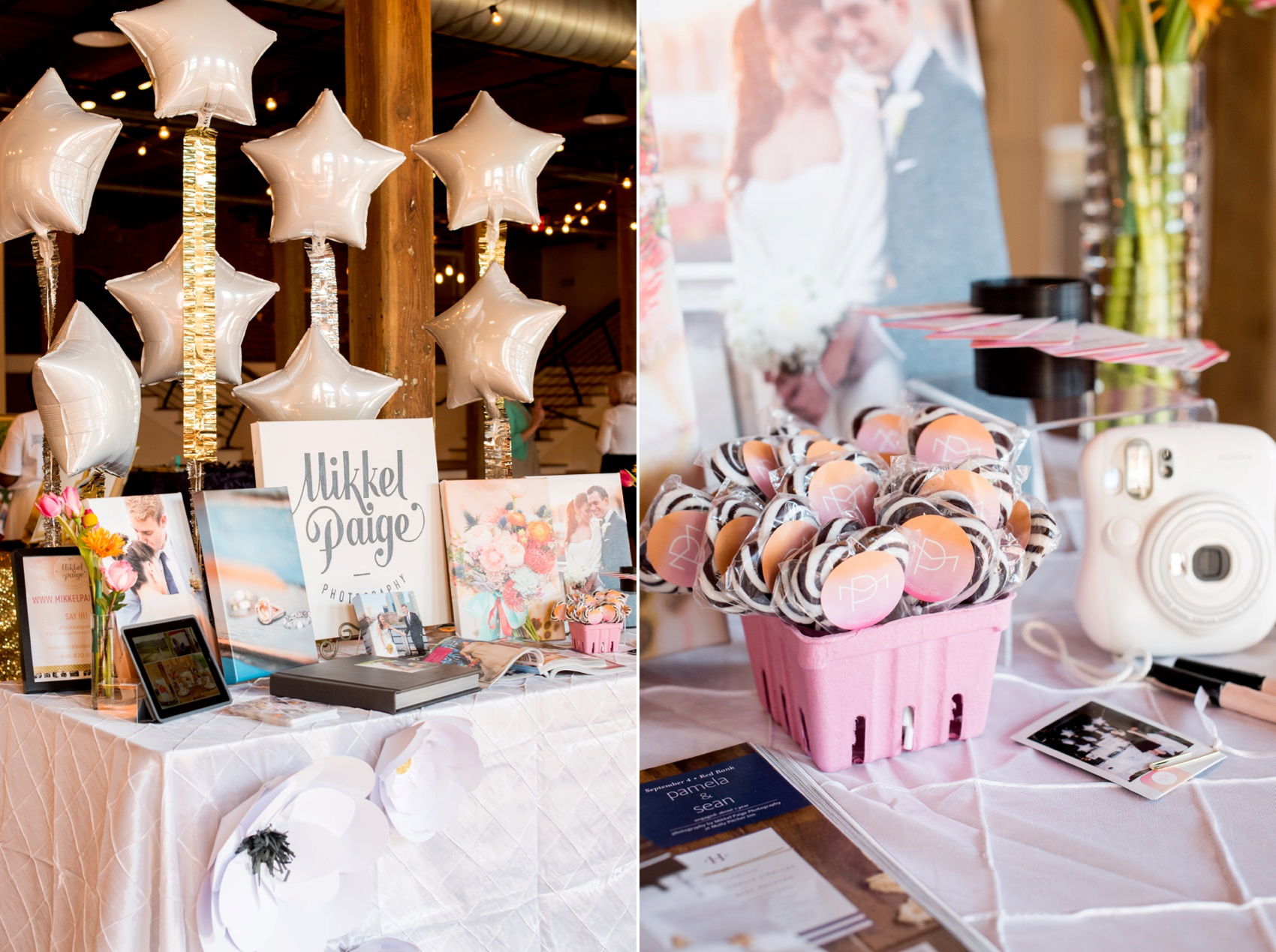The Cloth Mill North Carolina wedding vendor showcase. Photographer Mikkel Paige Photography's table display with custom black and white lollipops.
