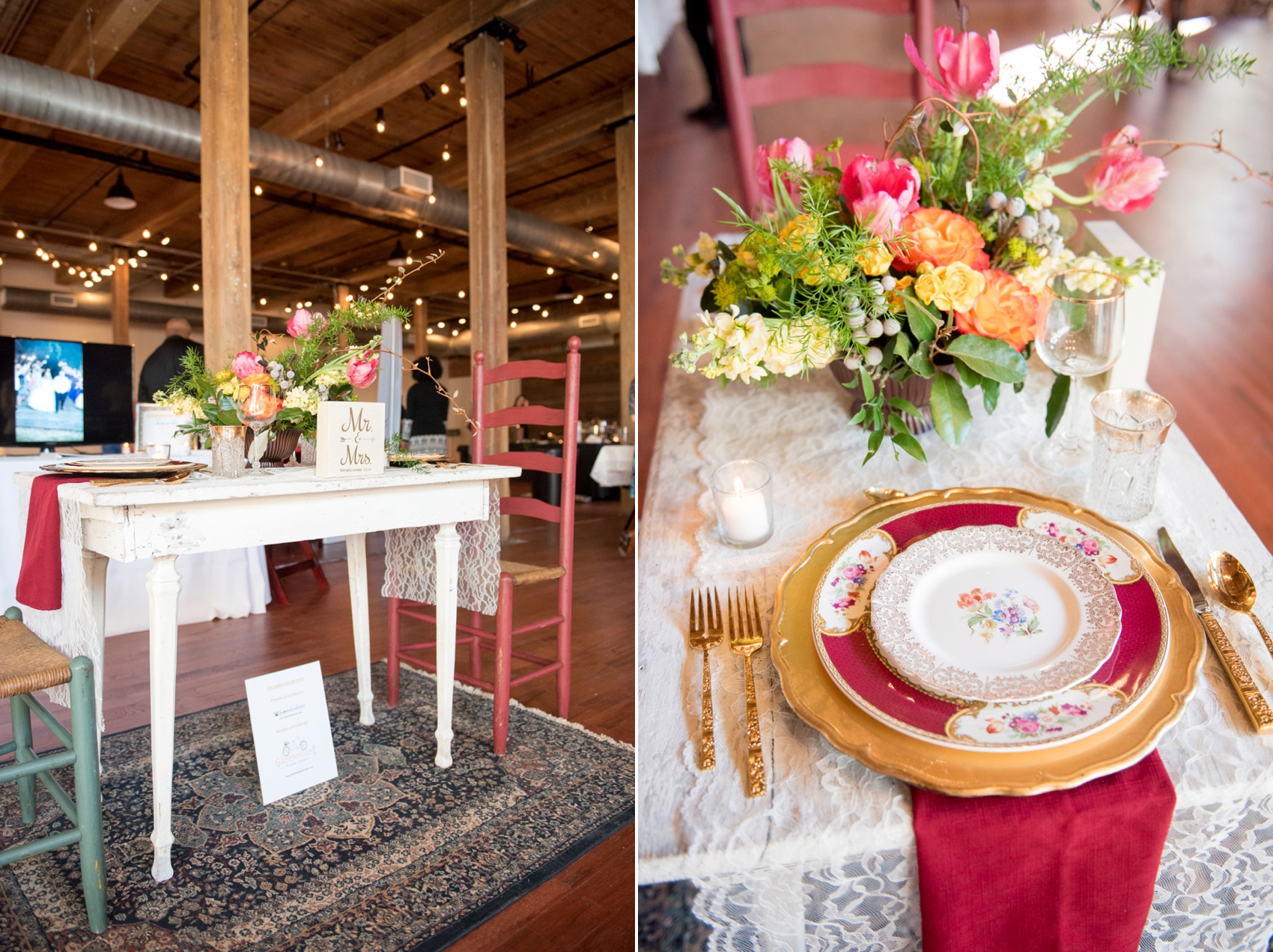 The Cloth Mill North Carolina wedding vendor showcase. Raleigh, Durham and Hillsborough vendors at a rustic, modern location. Table display of wedding and event planner Vision Events with a shabby chic table for two.
