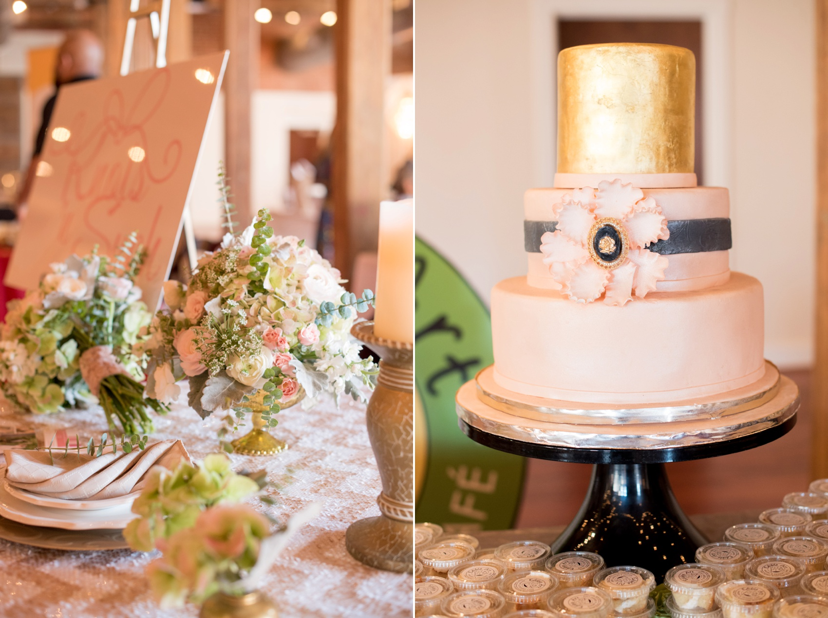 The Cloth Mill North Carolina wedding vendor showcase. Raleigh, Durham and Hillsborough vendors at a rustic, modern location. Table display of wedding and event planner Knots n Such and Edible Art's blush and gold cake.