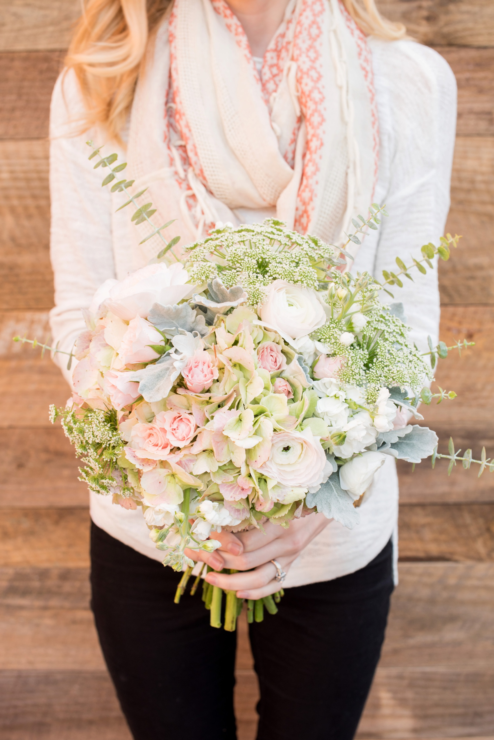 The Cloth Mill North Carolina wedding vendor showcase. Raleigh, Durham and Hillsborough vendors at a rustic, modern location. Knots n Such wedding planner pink, green and white bouquet with tea sweetheart roses, eucalyptus, dusty miller and hydrangea.