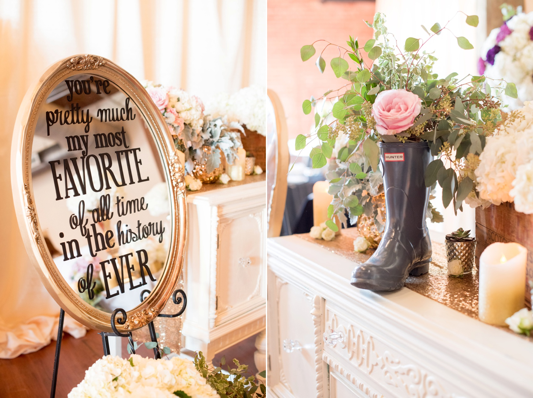 The Cloth Mill North Carolina wedding vendor showcase. Raleigh, Durham and Hillsborough vendors at a rustic, modern location. Abba Events table display with a wellie Hunter boot floral arrangement and oval mirror sign with custom quote.