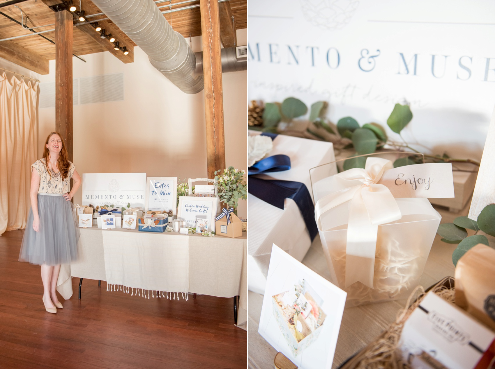 The Cloth Mill North Carolina wedding vendor showcase. Raleigh, Durham and Hillsborough vendors at a rustic, modern location. Memento and Muse gift boxes table display.