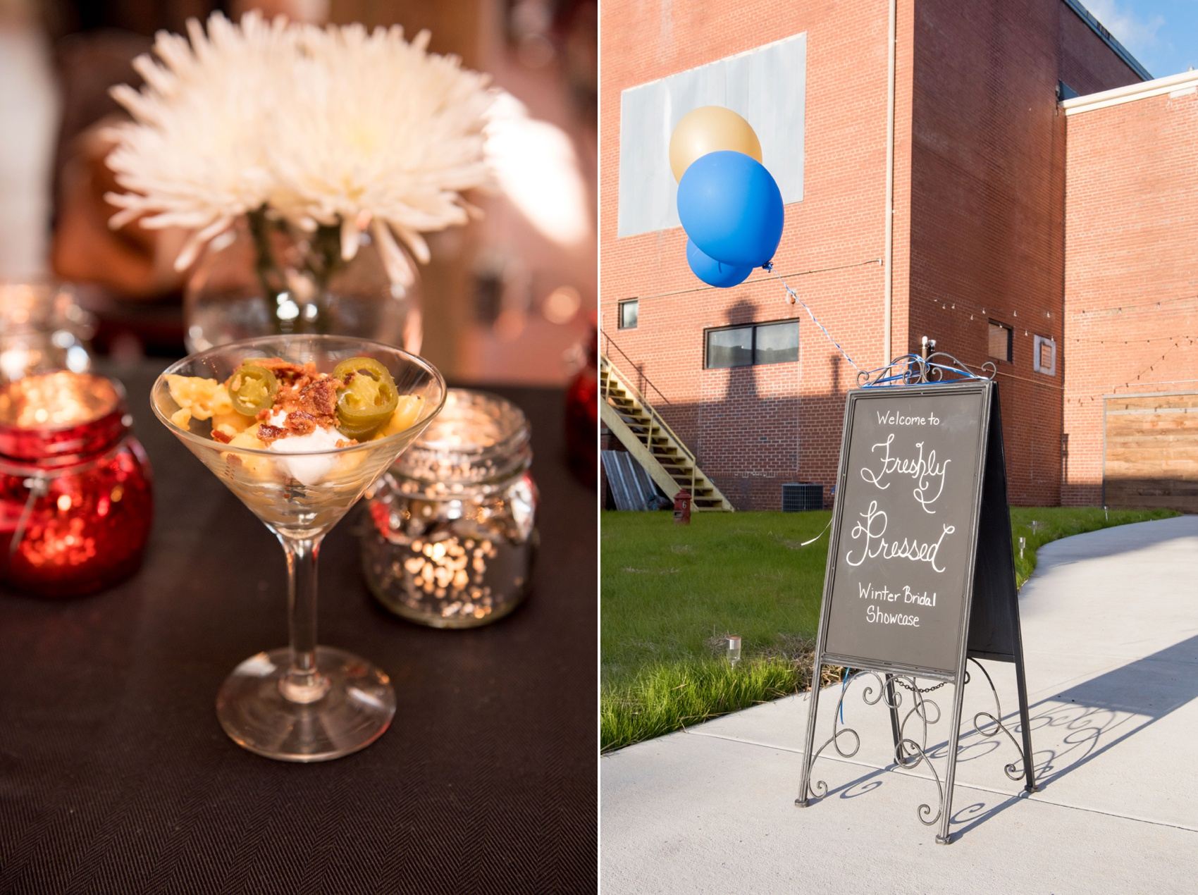 The Cloth Mill North Carolina wedding vendor showcase. Raleigh, Durham and Hillsborough vendors at a rustic, modern location. Signage and macaroni and cheese martini glass by Farmer's Table Group.