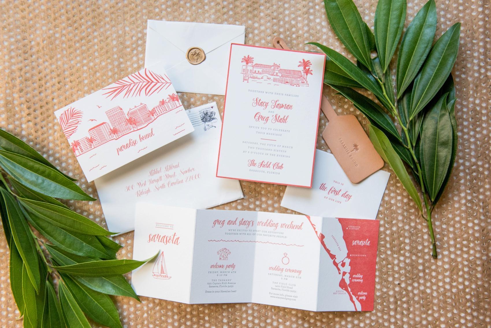 Sarasota C Red Letterpress Wedding Invitation Florida Photos By Mikkel Paige Photography