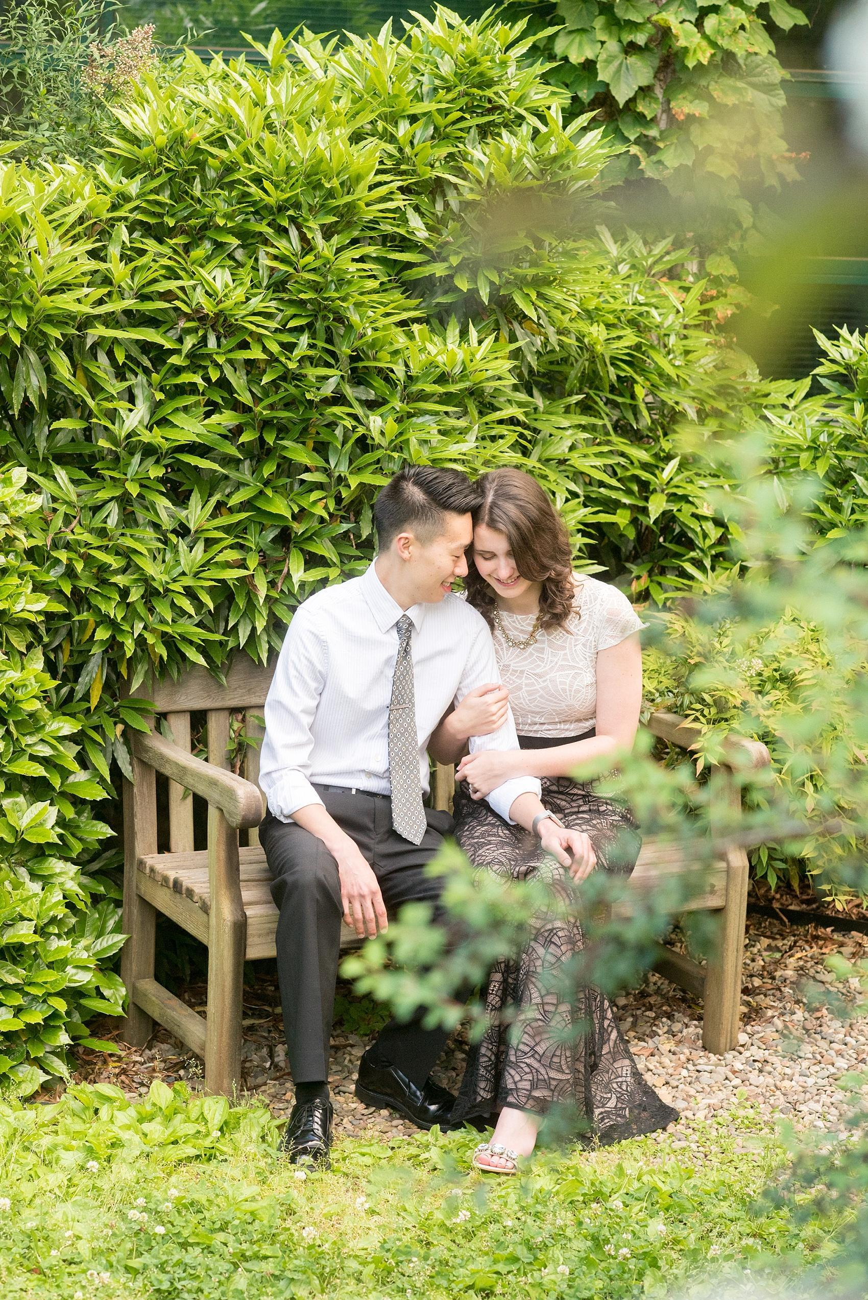 Raleigh North Carolina wedding photographer, Mikkel Paige Photography, photographs an engagement session at JC Raulston Arboretum at NC State campus.