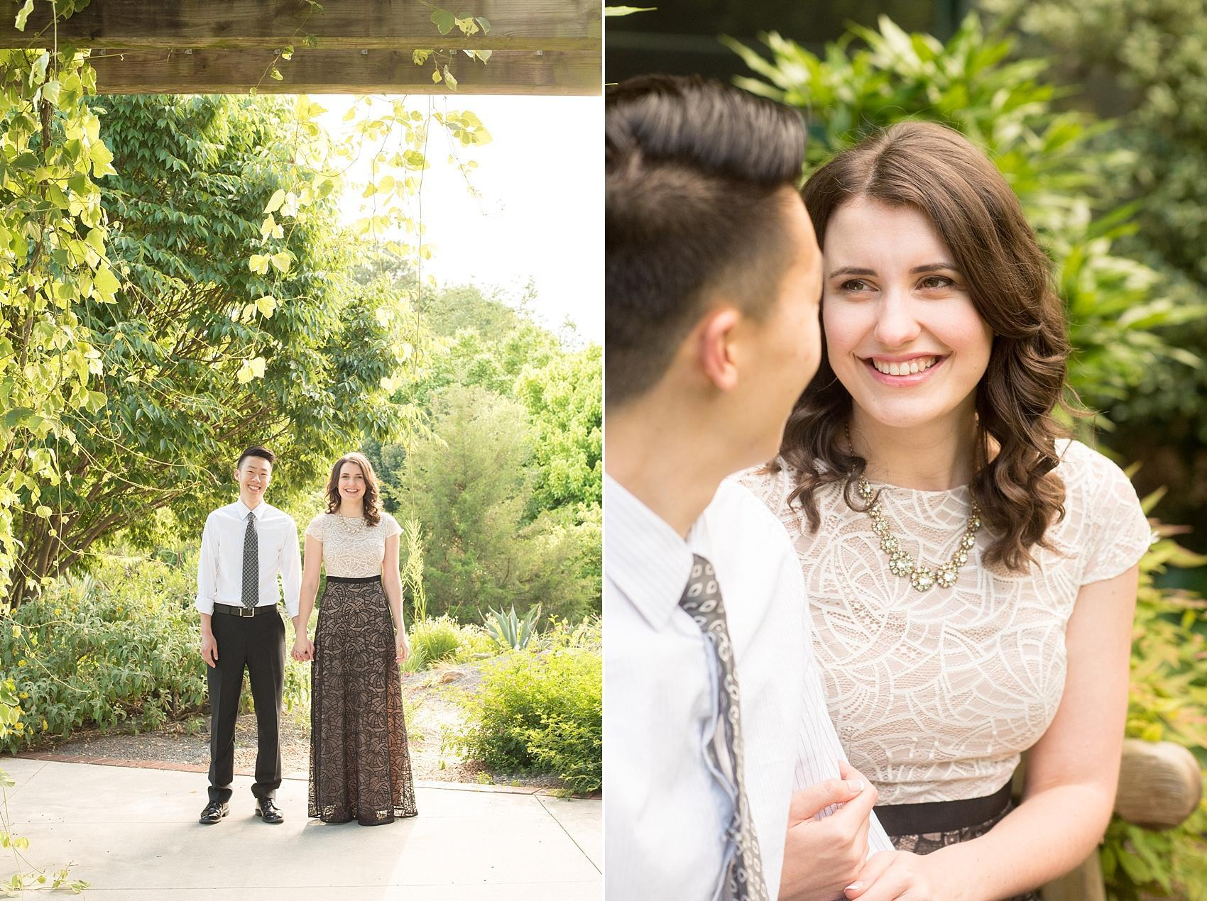 Raleigh North Carolina wedding photographer, Mikkel Paige Photography, photographs an engagement session at Raulston Arboretum at NC State campus during golden hour.