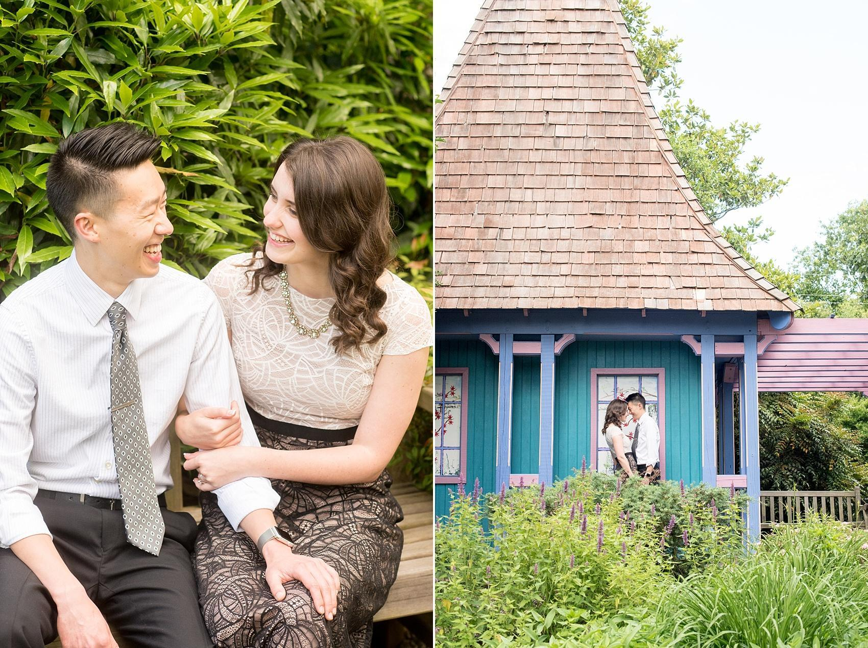 Raleigh North Carolina wedding photographer, Mikkel Paige Photography, photographs a colorful engagement session at Raulston Arboretum at NC State campus with Rent the Runway for the bride.