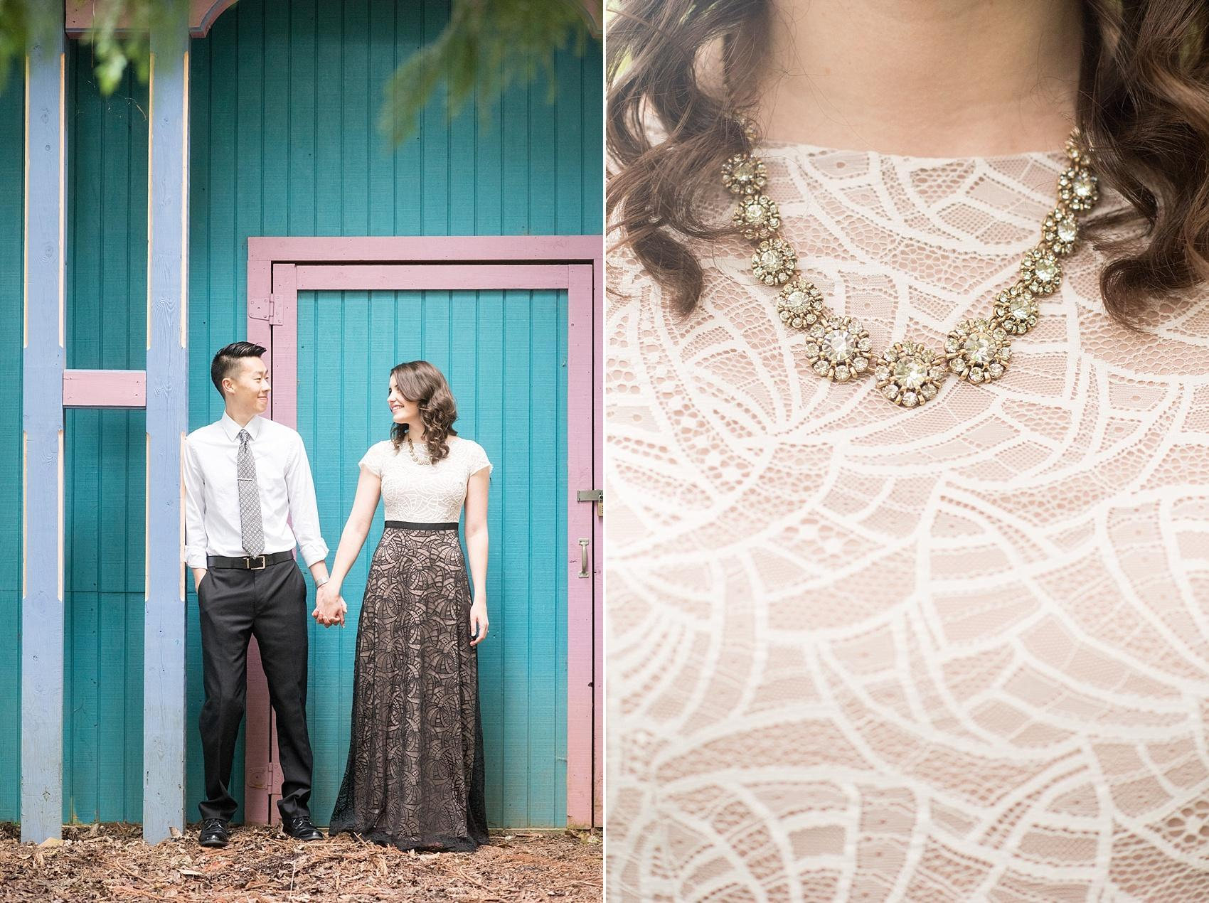 Raleigh North Carolina wedding photographer, Mikkel Paige Photography, photographs a colorful engagement session at Raulston Arboretum at NC State campus with Rent the Runway and a statement necklace for the bride.