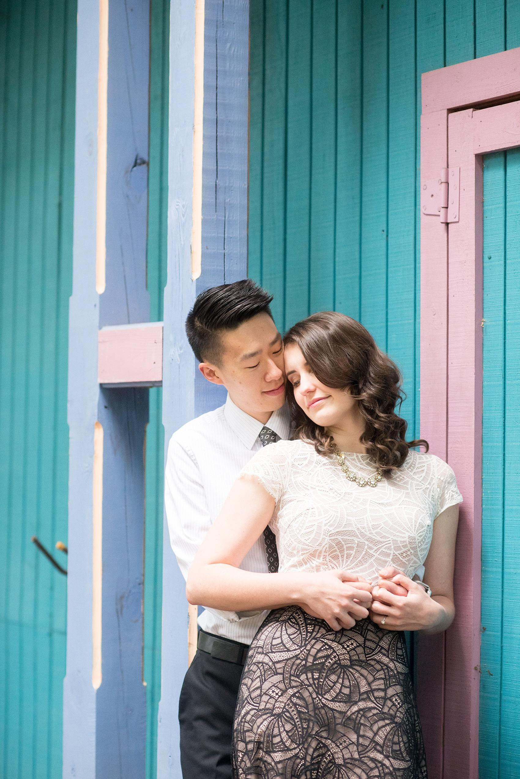 Raleigh North Carolina wedding photographer, Mikkel Paige Photography, photographs a romantic engagement session at Raulston Arboretum at NC State campus with Rent the Runway for the bride.