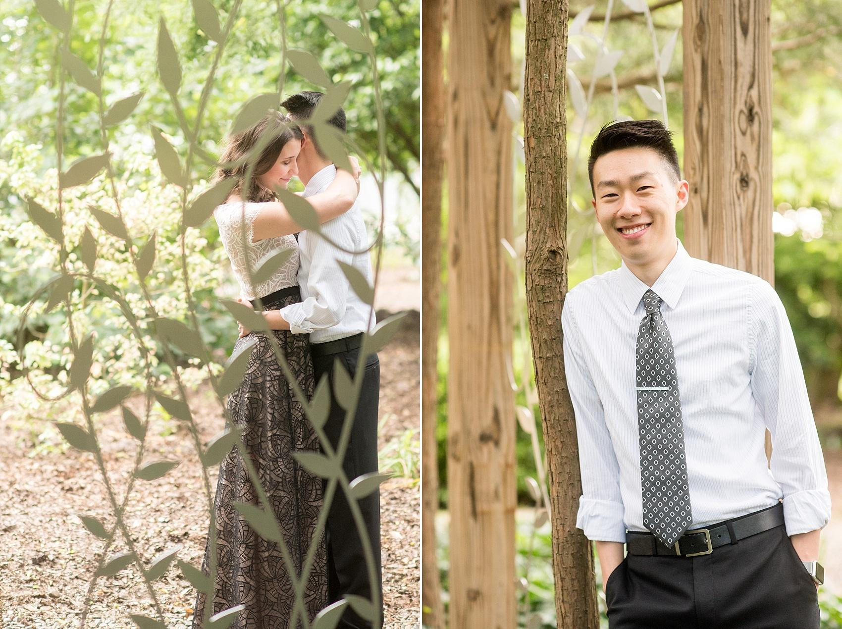 Raleigh North Carolina wedding photographer, Mikkel Paige Photography, photographs a fairy tale engagement session at Raulston Arboretum at NC State campus.