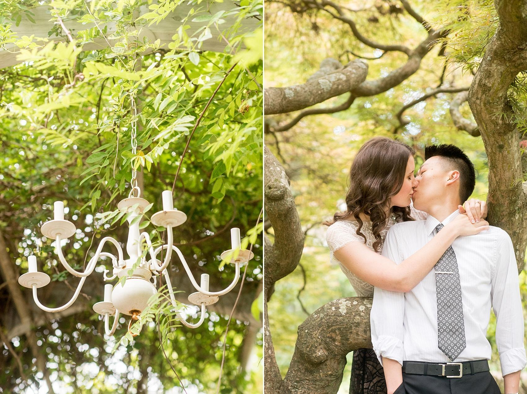 Raleigh North Carolina wedding photographer, Mikkel Paige Photography, photographs a romantic outdoor engagement session at Raulston Arboretum at NC State campus.