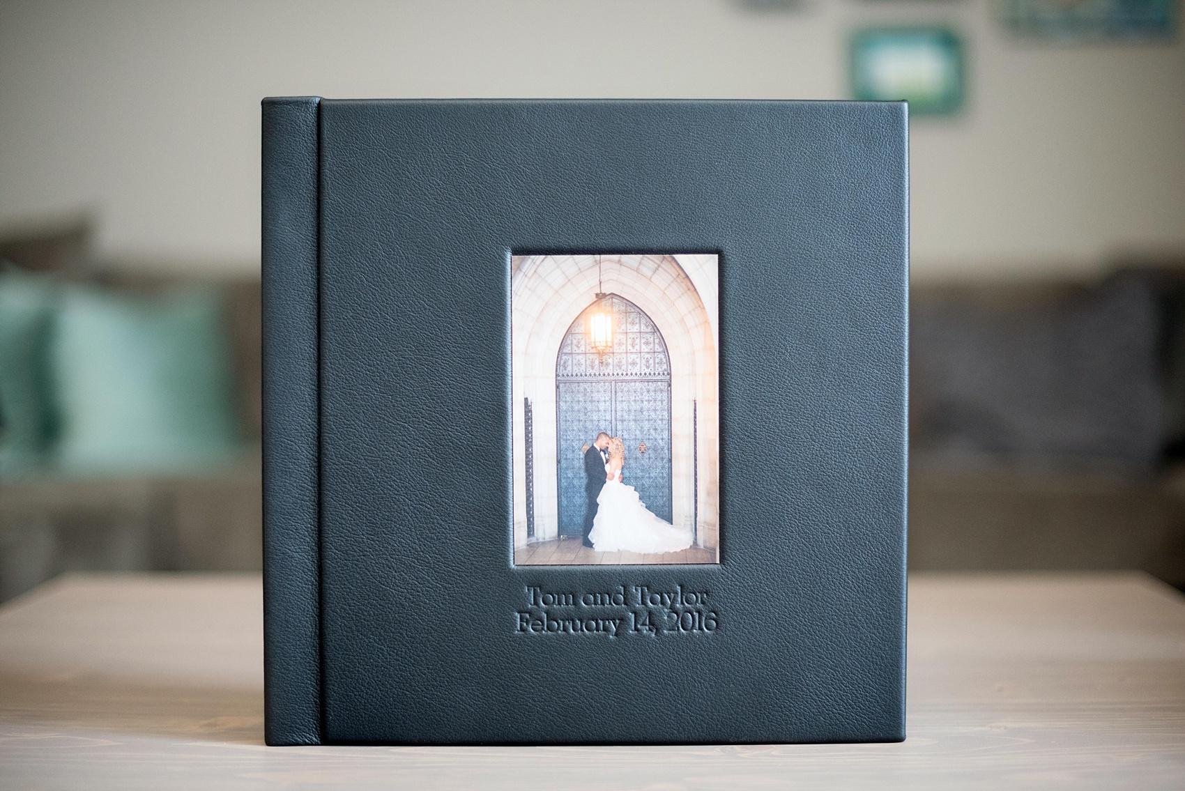Mikkel Paige Photography Photos Of A Black Fine Art Leather Wedding Album With Subtle Disney