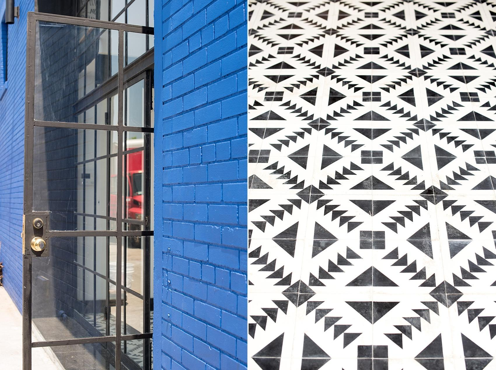 Mikkel Paige Photography, NYC wedding photographer, captures Brooklyn's event space, Dobbin St. with inviting cobalt blue exterior brick wall and black and white moroccan tile entrance.