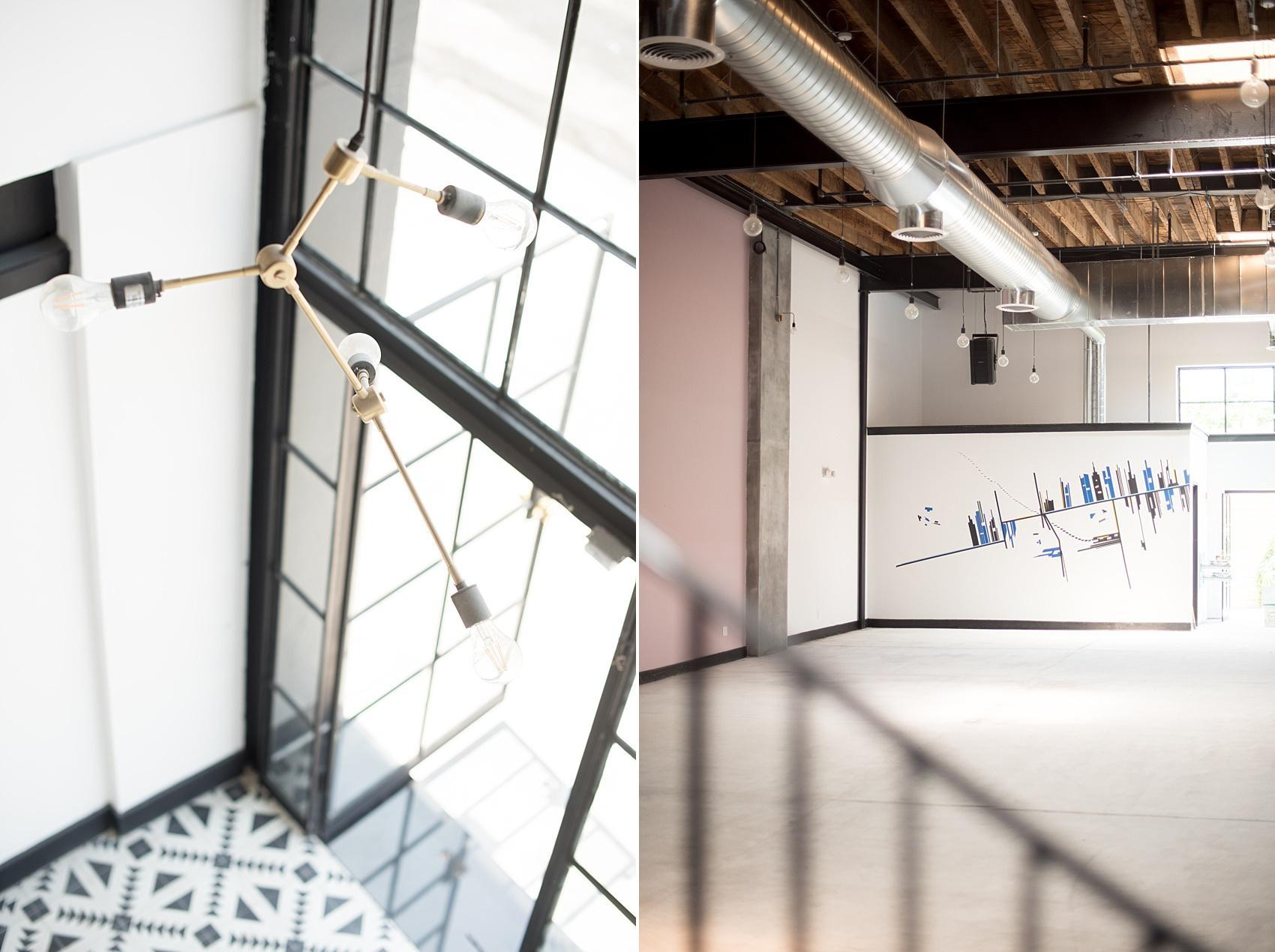 Mikkel Paige Photography, NYC wedding photographer, captures Brooklyn's event space, Dobbin St. with inviting black and white geometric tile entrance and open space plan.