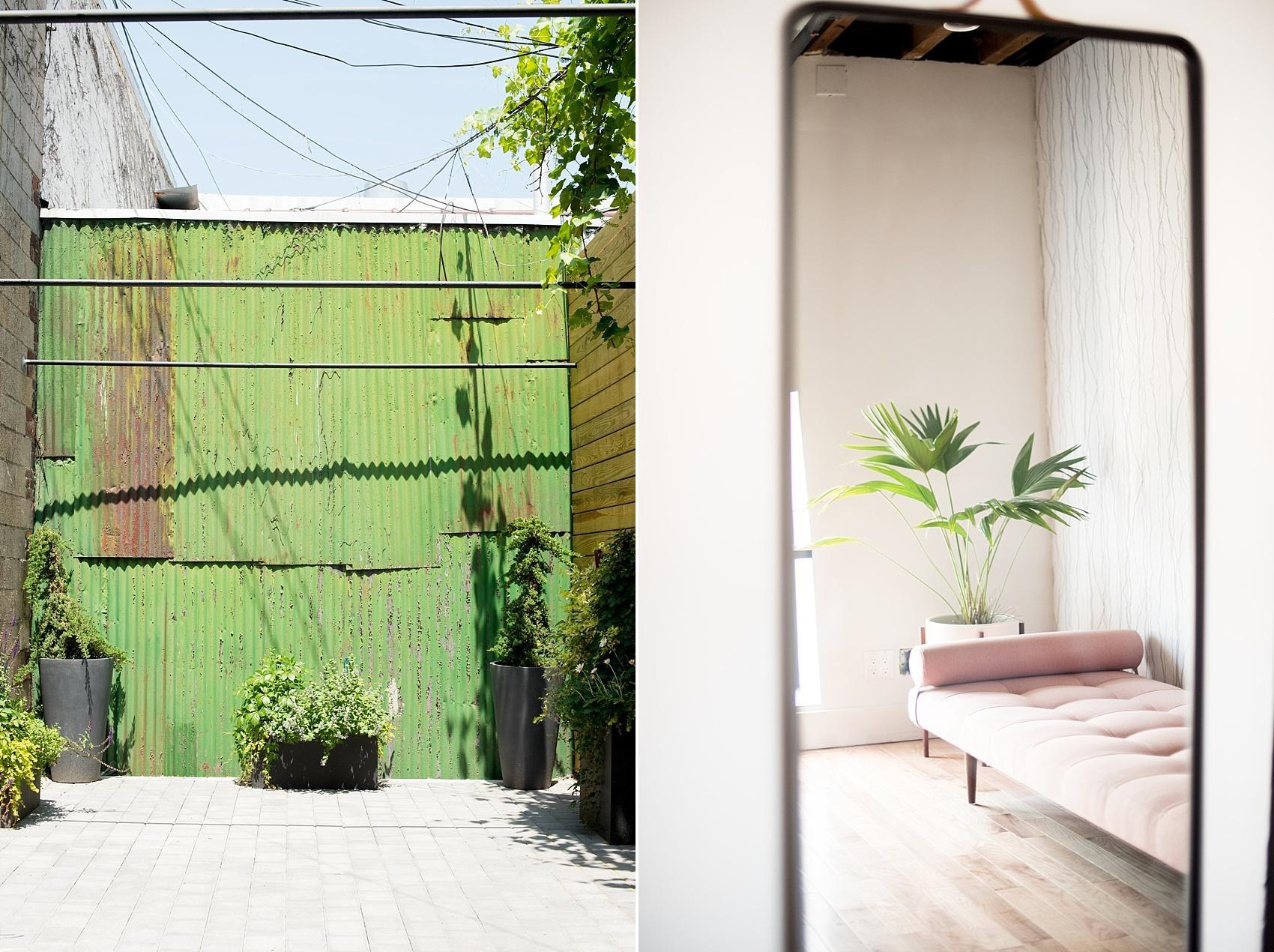 Mikkel Paige Photography, NYC wedding photographer, captures Brooklyn event space, Dobbin St. with outdoor garden patio and interior trendy modern suite.