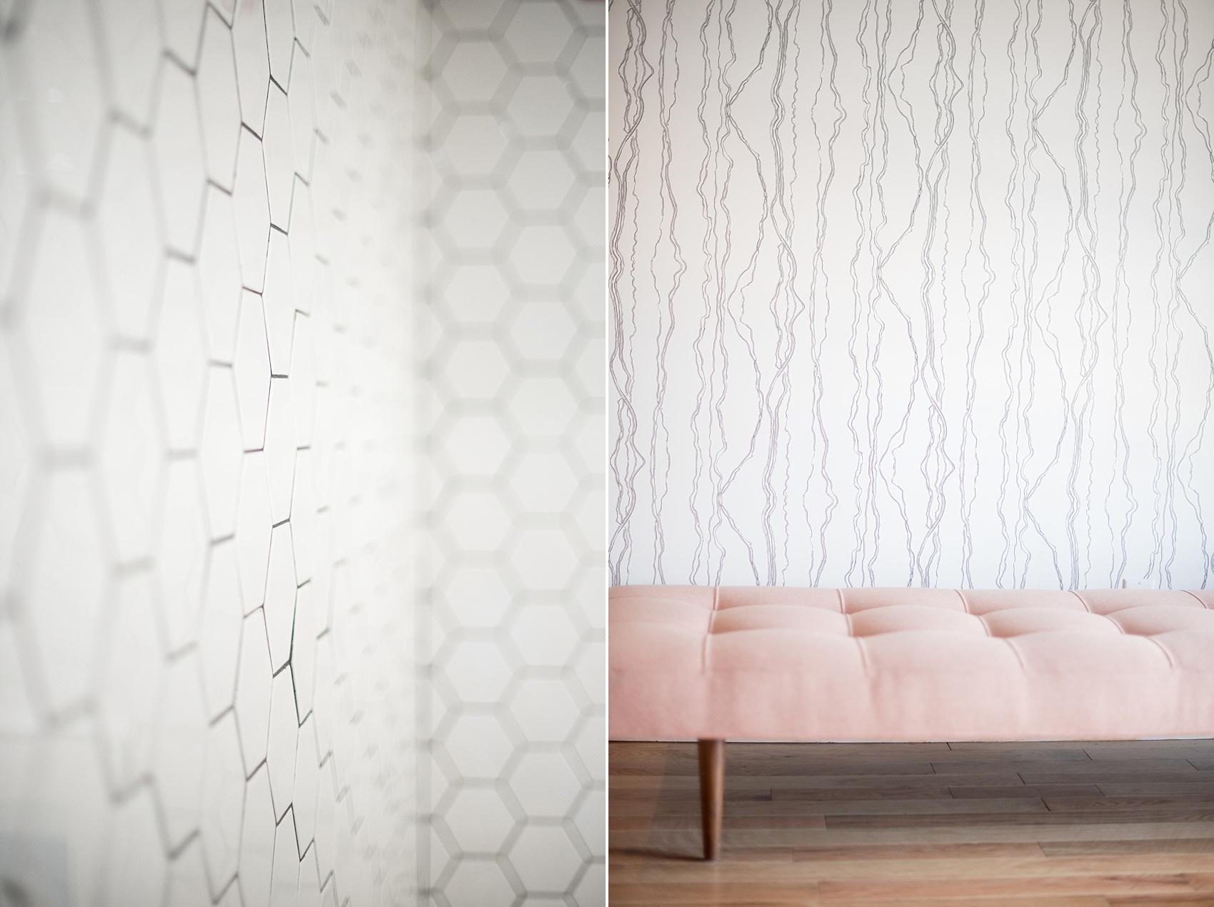 Mikkel Paige Photography, NYC wedding photographer, captures Brooklyn event space, Dobbin St. with modern indoor bridal suite and honeycomb tiling.
