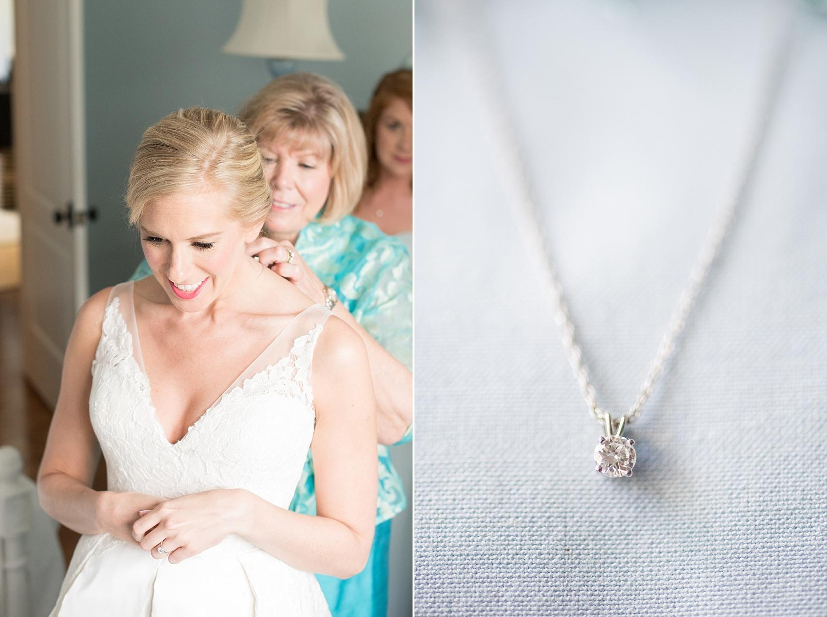 Mikkel Paige Photography photos of a diamond necklace that was the bride's grandmother's stone and her mother helping her get ready for a Market Hall reception in Raleigh.