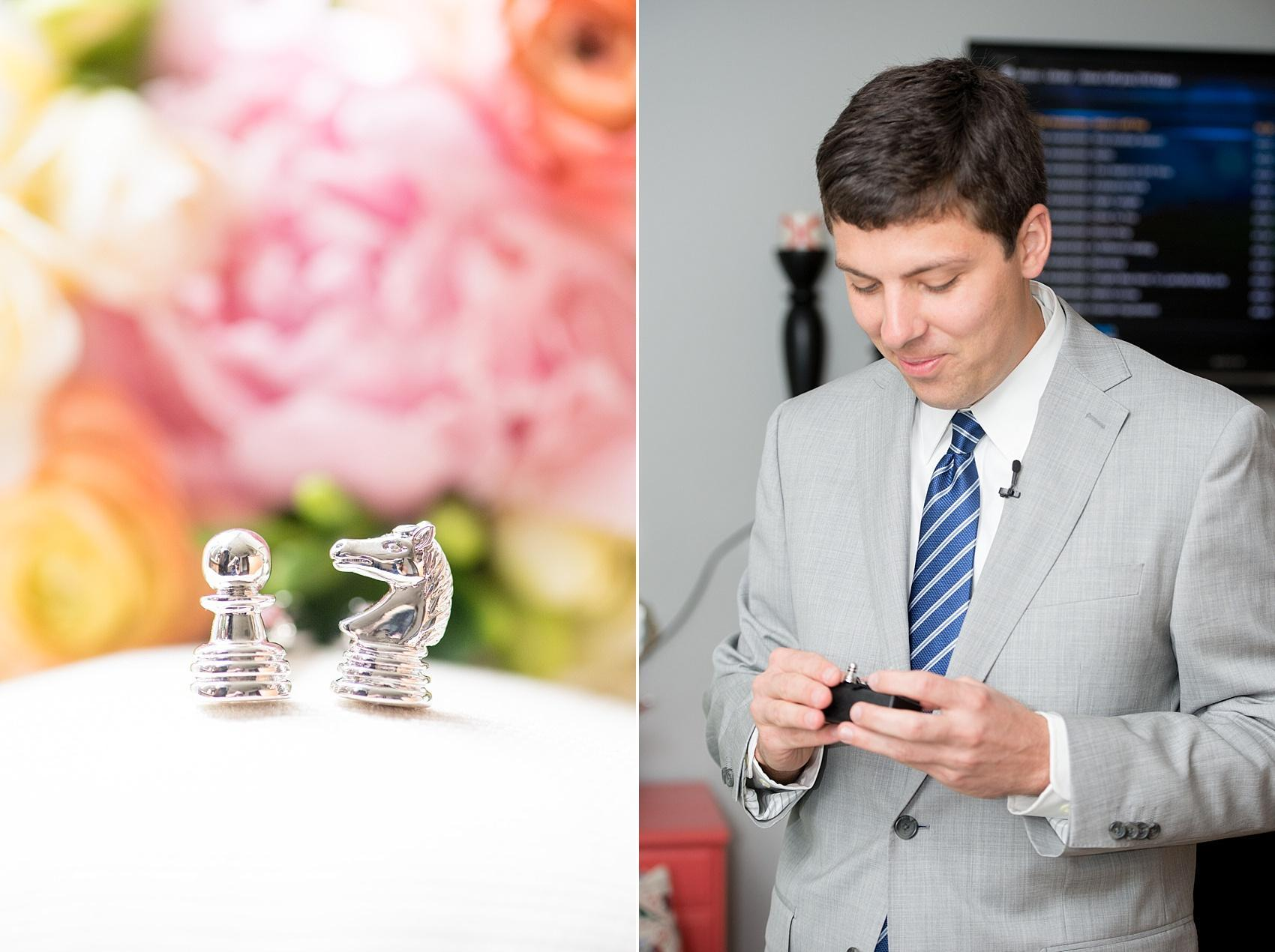 Mikkel Paige Photography photos of the groom opening his gift from the bride of chess piece cufflinks.