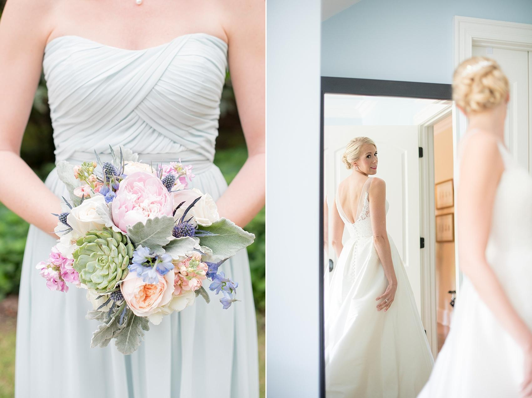 Mikkel Paige Photography photos of a bridesmaid in light blue with a spring bouquet of peonies and succulents and the bride in her gown for a Market Hall wedding in Raleigh.