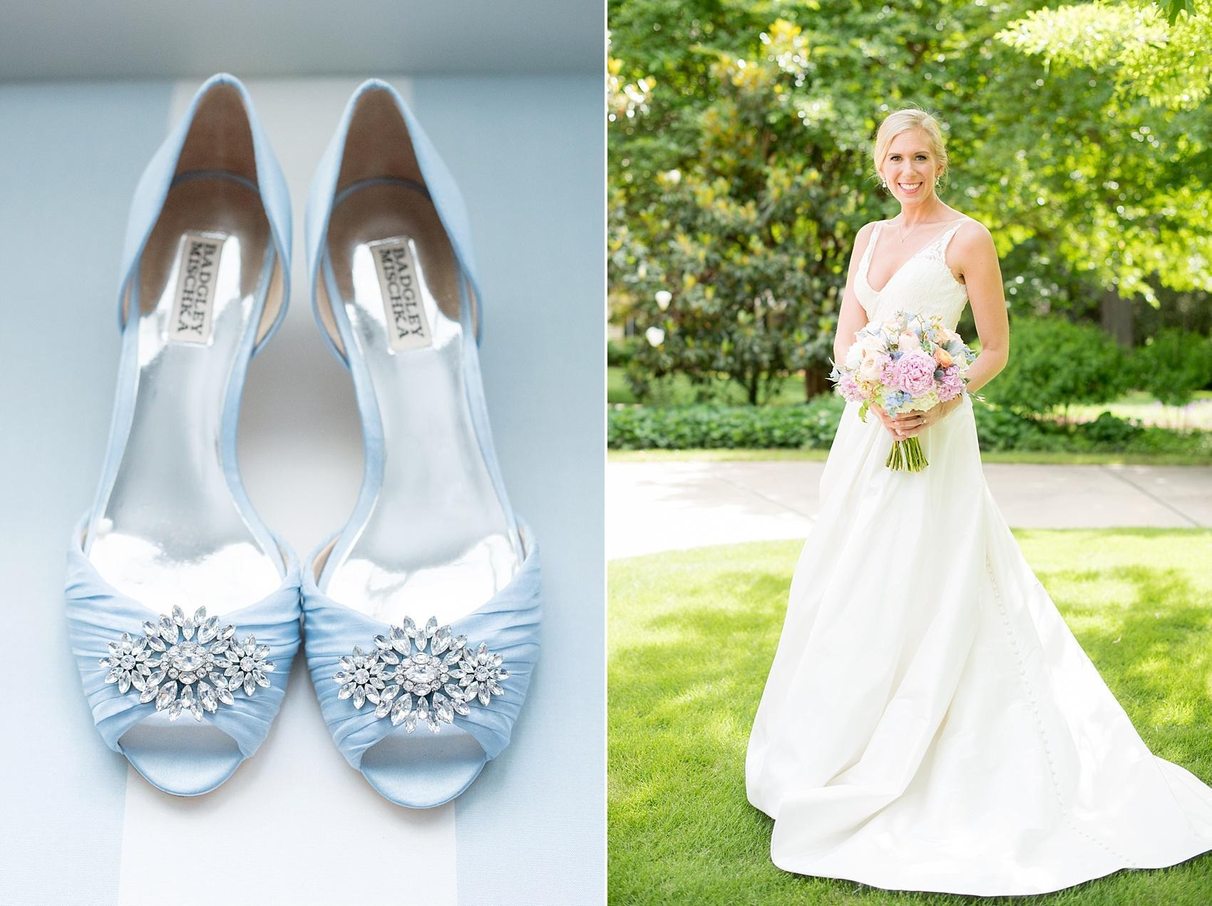 Mikkel Paige Photography photos of a downtown Raleigh Market Hall wedding with spring pictures of the bride and her Cinderella blue shoes.