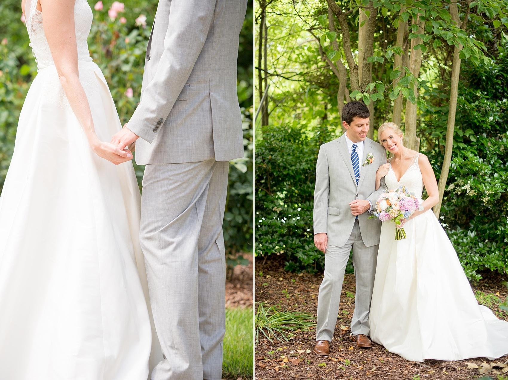 Mikkel Paige Photography photos of a downtown Raleigh Market Hall wedding with spring pictures of the bride and groom amidst a garden.