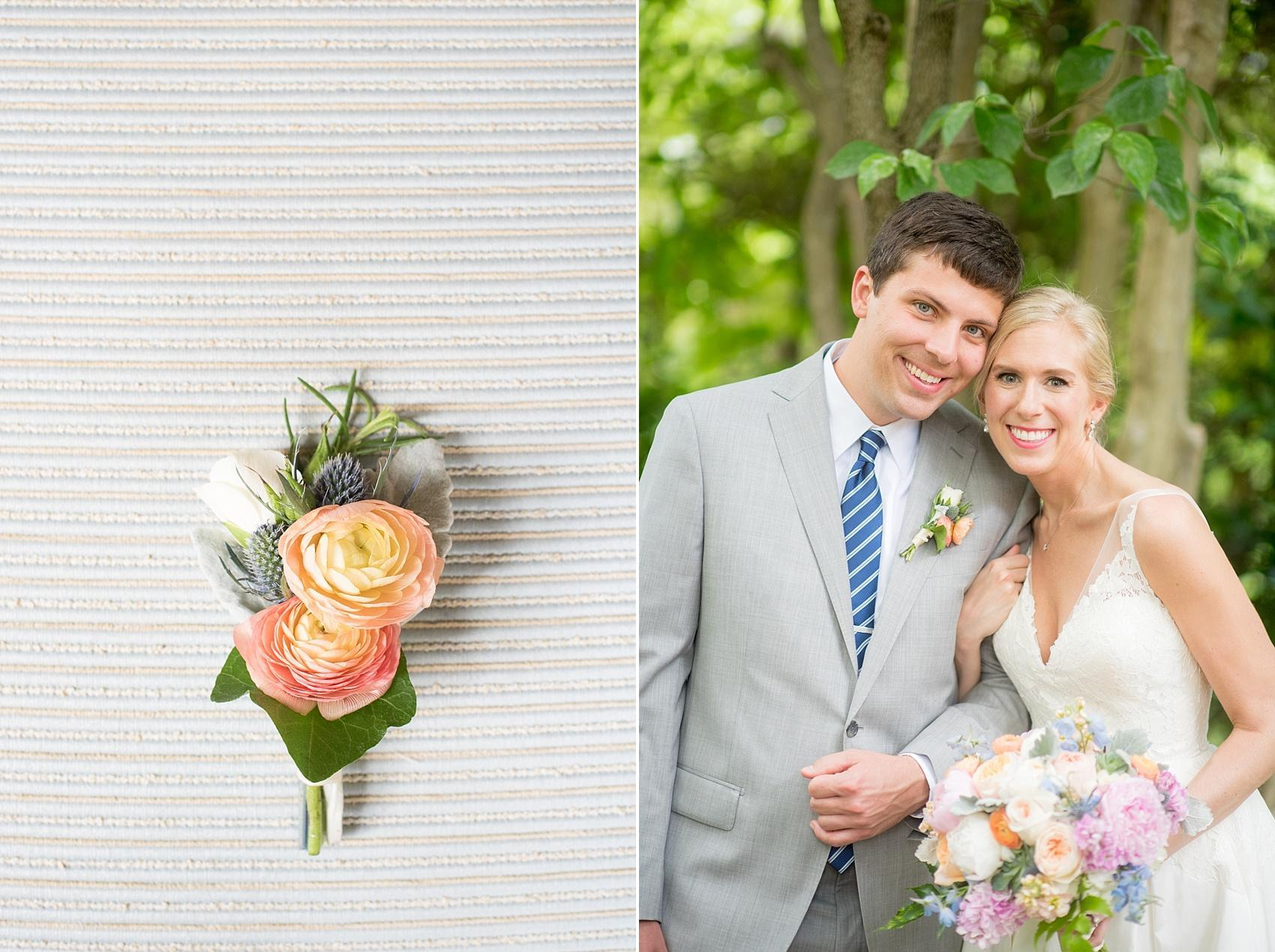 Mikkel Paige Photography photos of a downtown Raleigh Market Hall wedding with spring pictures of the bride and groom and orange ranunculus boutonniere by English Garden.