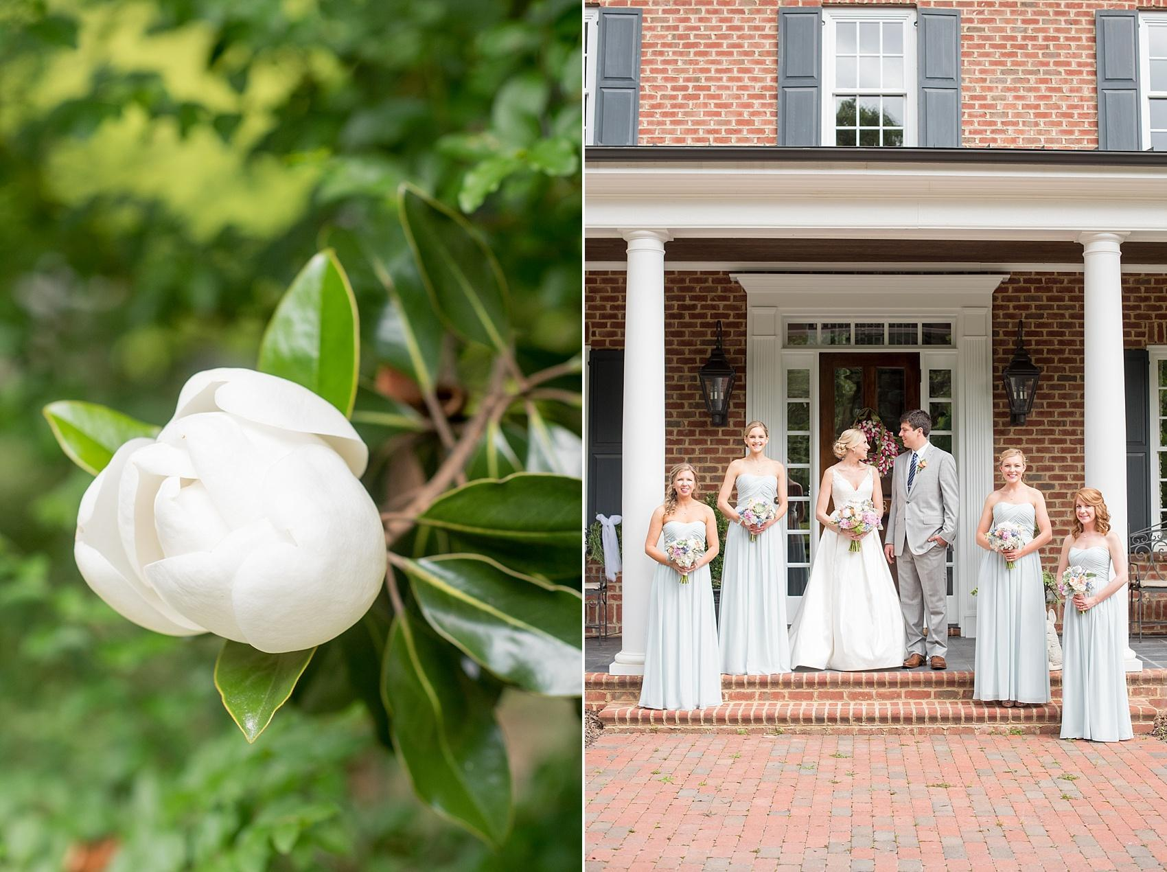 Mikkel Paige Photography photos of a downtown Raleigh Market Hall wedding with spring pictures of the bride and bridesmaids in Bari Jay misty blue gowns.