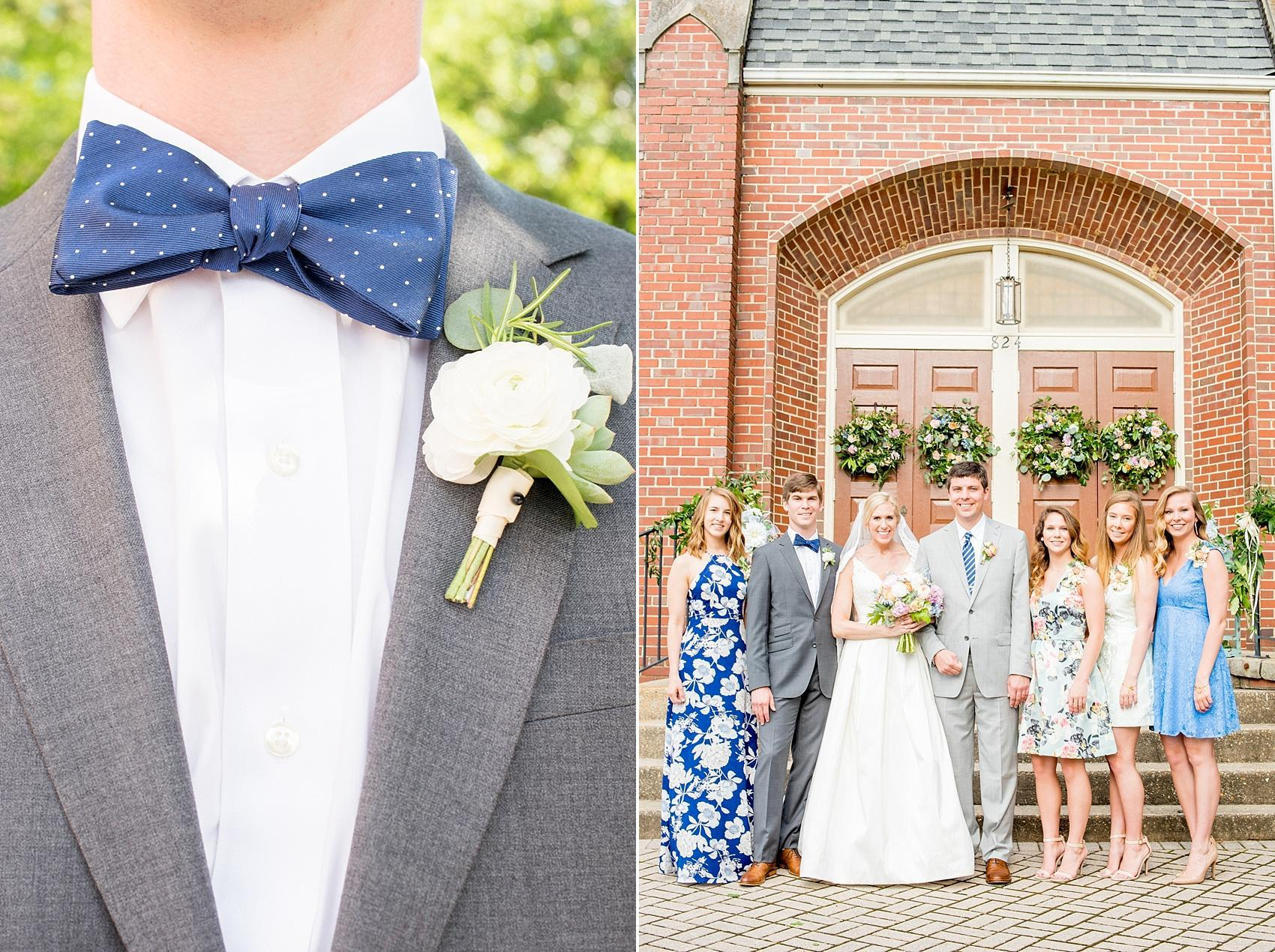 Mikkel Paige Photography photos of a downtown Raleigh Market Hall wedding with pictures of a blue bowtie and white ranunculus boutonniere and bride and groom with their siblings.