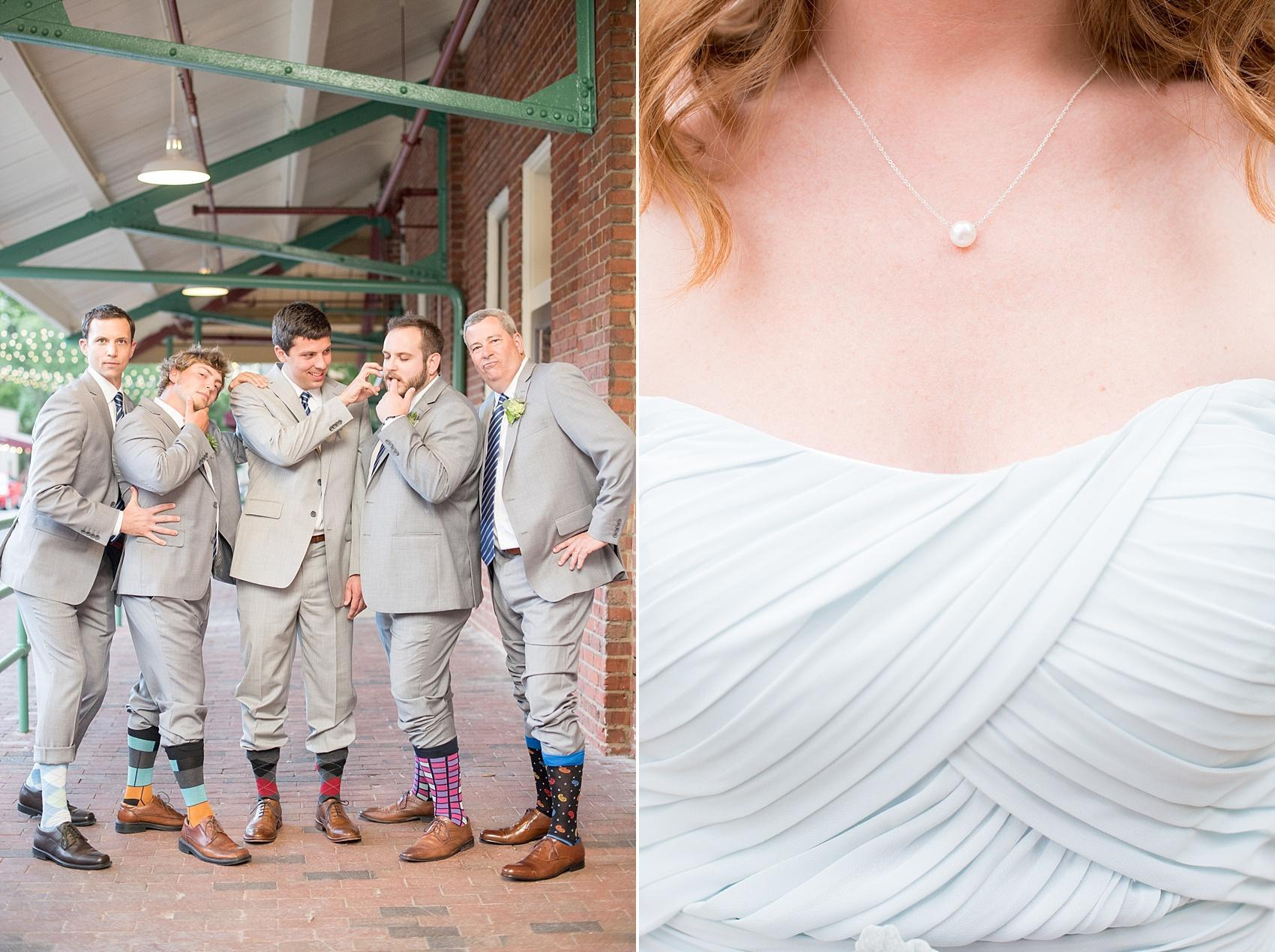 Mikkel Paige Photography photos of a downtown Raleigh Market Hall wedding with pictures of the groomsmen socks and bridesmaid pearl necklace gift.