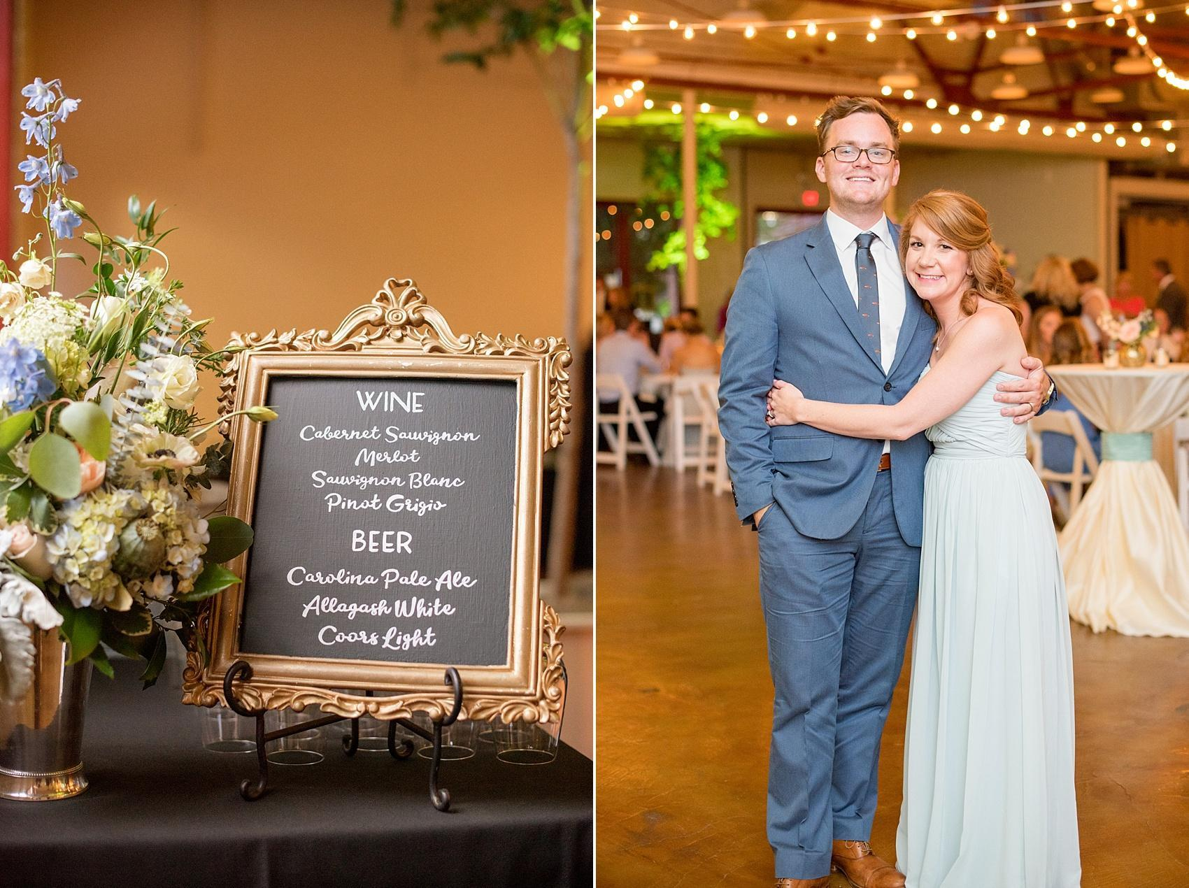 Mikkel Paige Photography photos of a wedding in downtown Raleigh at Market Hall, North Carolina. Custom chalkboard signs for the bar menu.