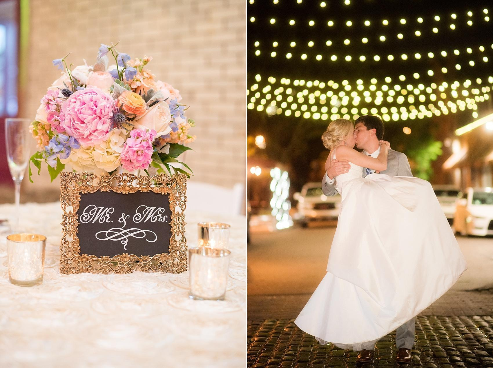 Mikkel Paige Photography photos of a wedding in downtown Raleigh at Market Hall, North Carolina. Outdoor night pictures with bistro twinkle lights and Mr. and Mrs. chalkboard sign.