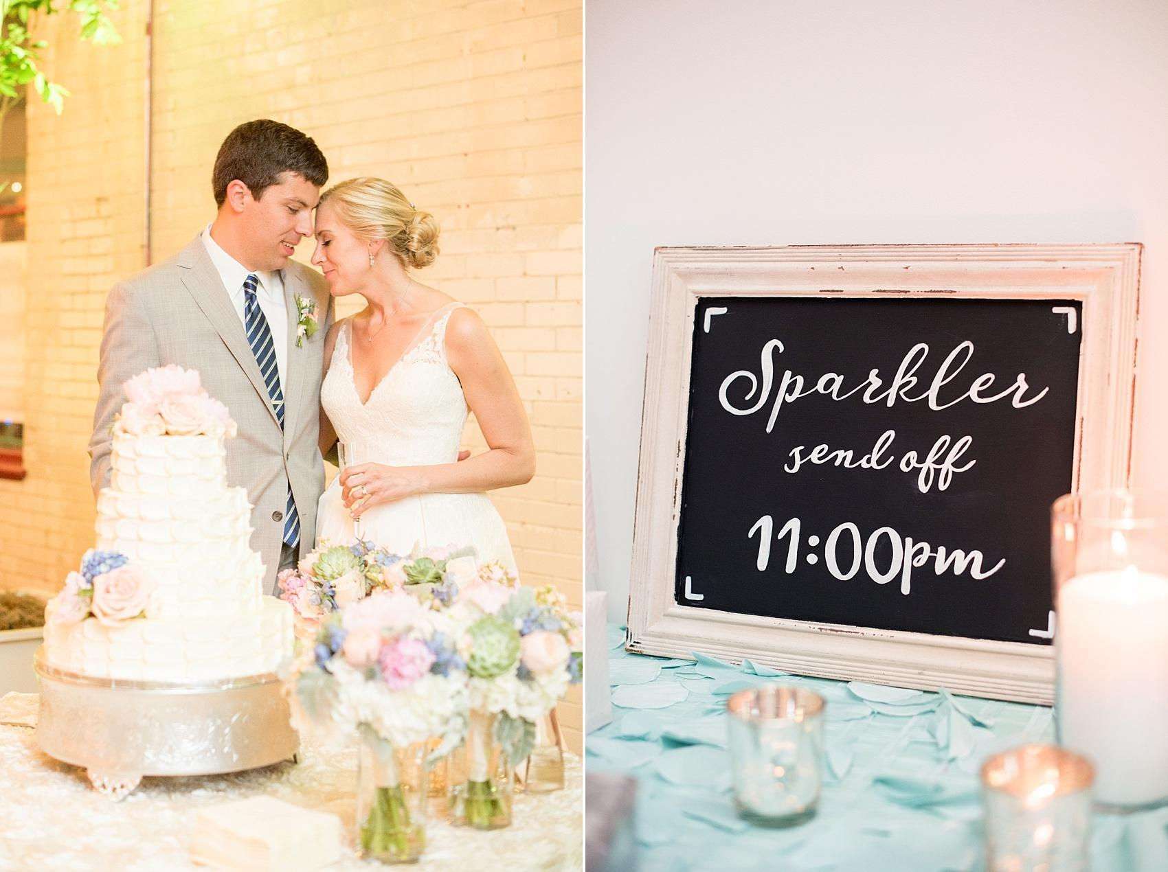 Mikkel Paige Photography photos of a wedding in downtown Raleigh at Market Hall, North Carolina. Cake cutting with a buttercream cake and chalkboard sparkler sendoff sign.
