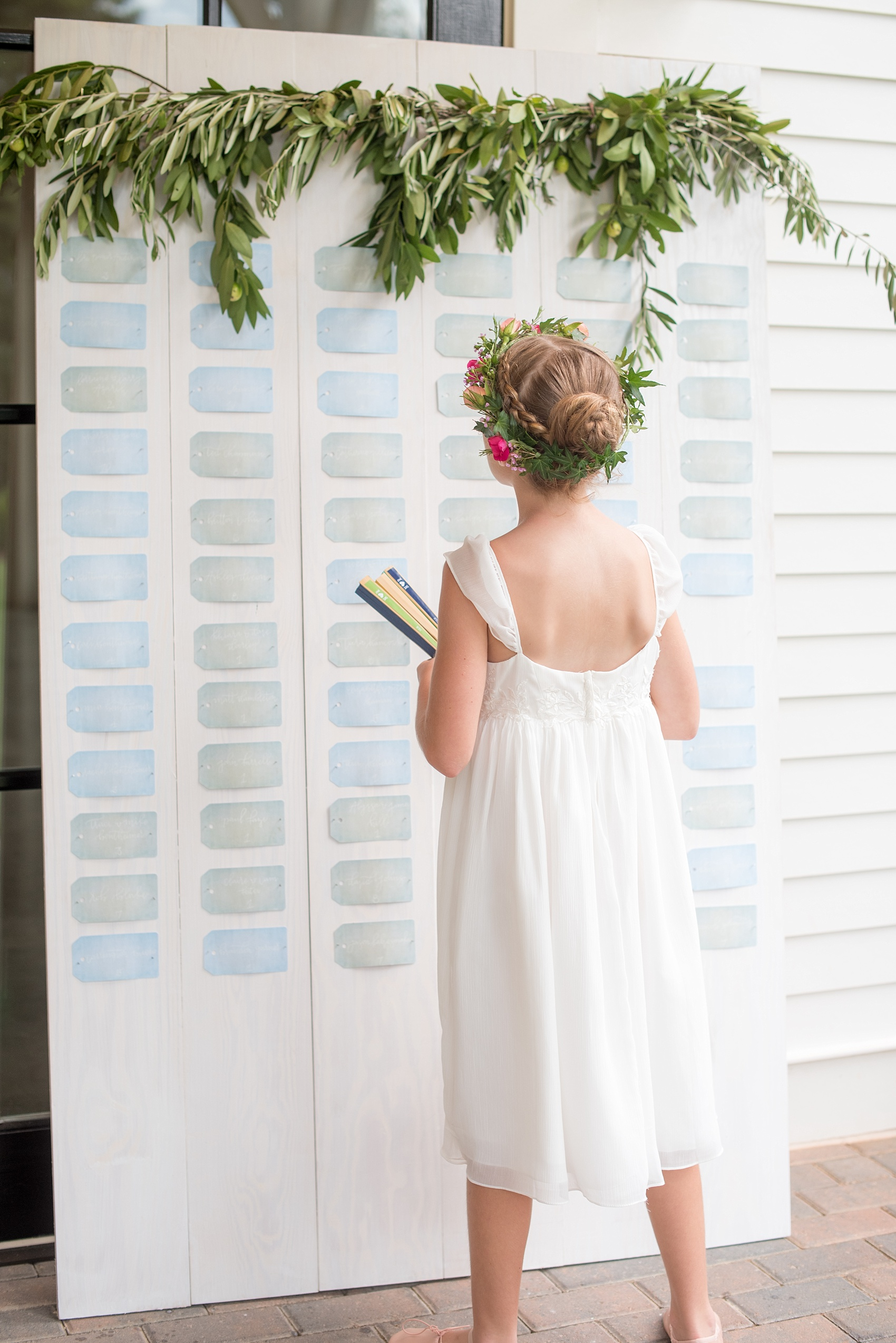 Mikkel Paige Photography wedding photos at The Merrimon-Wynne House in downtown Raleigh. A picture of the guest escort card board with blue and green tags with white calligraphy and eucalyptus garland.