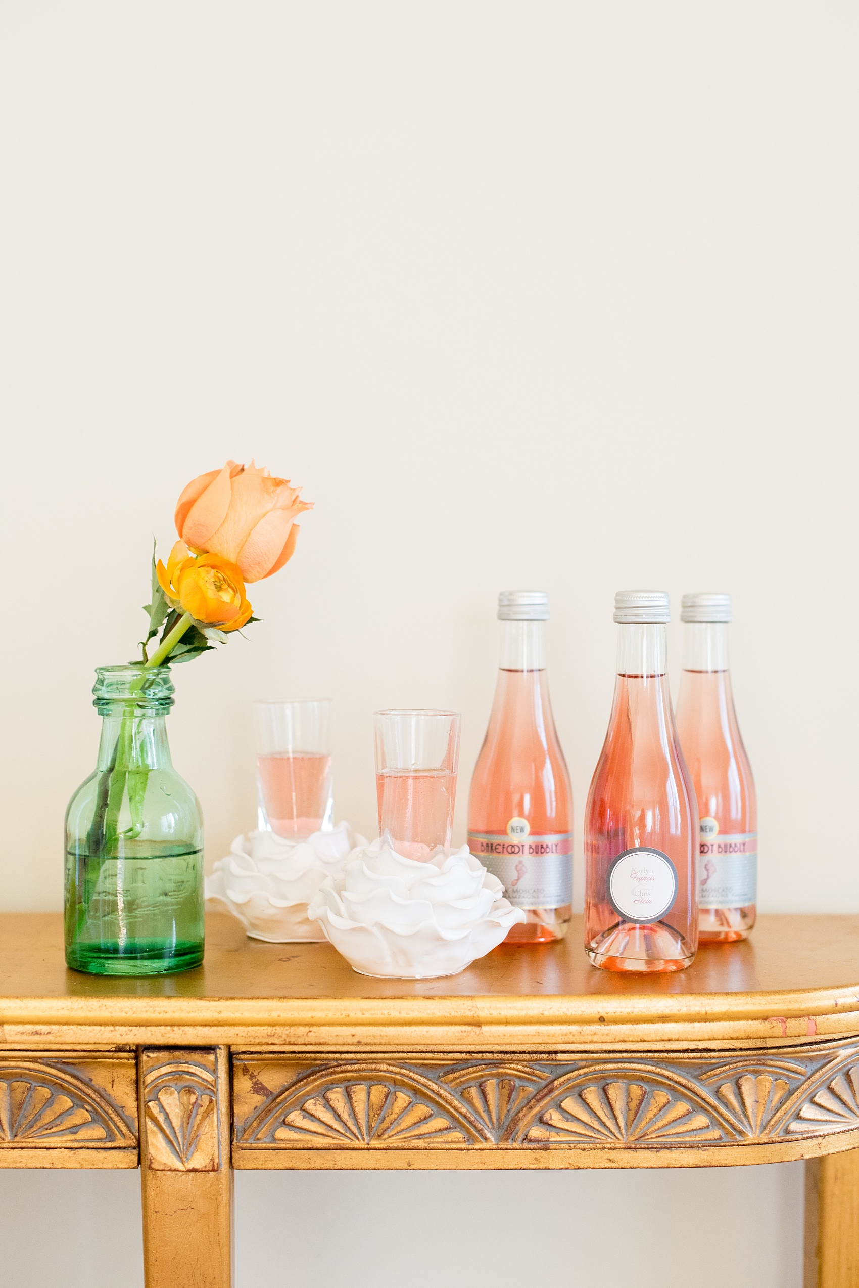 Mikkel Paige Photography wedding photo at The Bradford, NC. Pink rose champagne drink bar.
