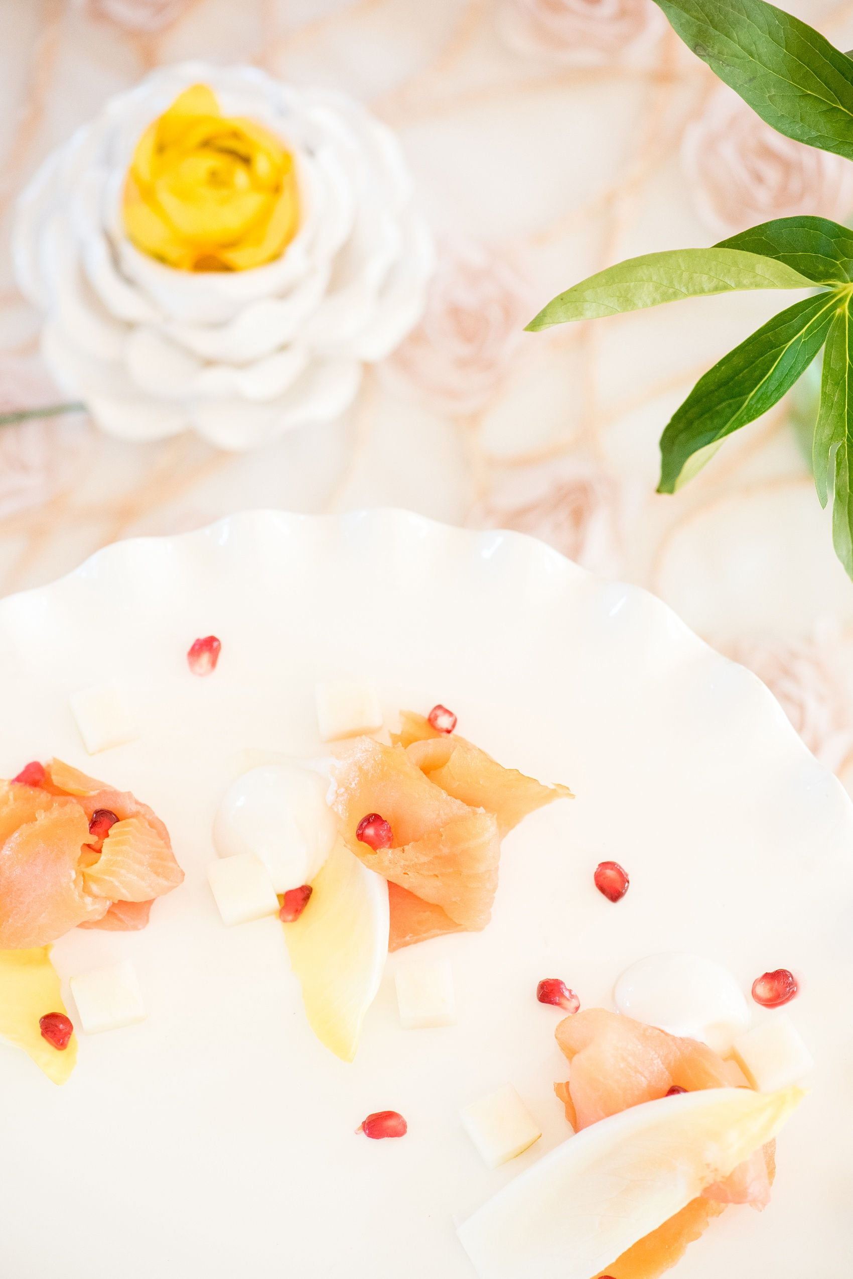 Mikkel Paige Photography wedding photo at The Bradford, NC. Salmon lox plate with pomegranate seeds by Belle's Catering.