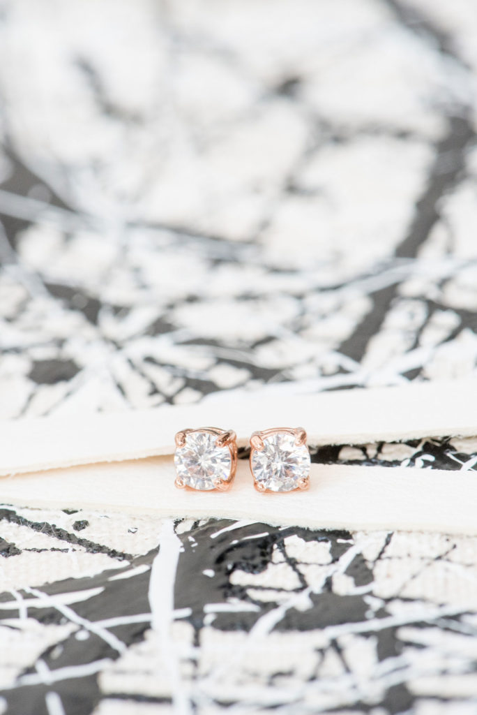 Mikkel Paige Photography photo of Dobbin St Brooklyn wedding. Planning and coordination by Color Pop Events. Rose gold diamond stud earrings by Susie Saltzman.