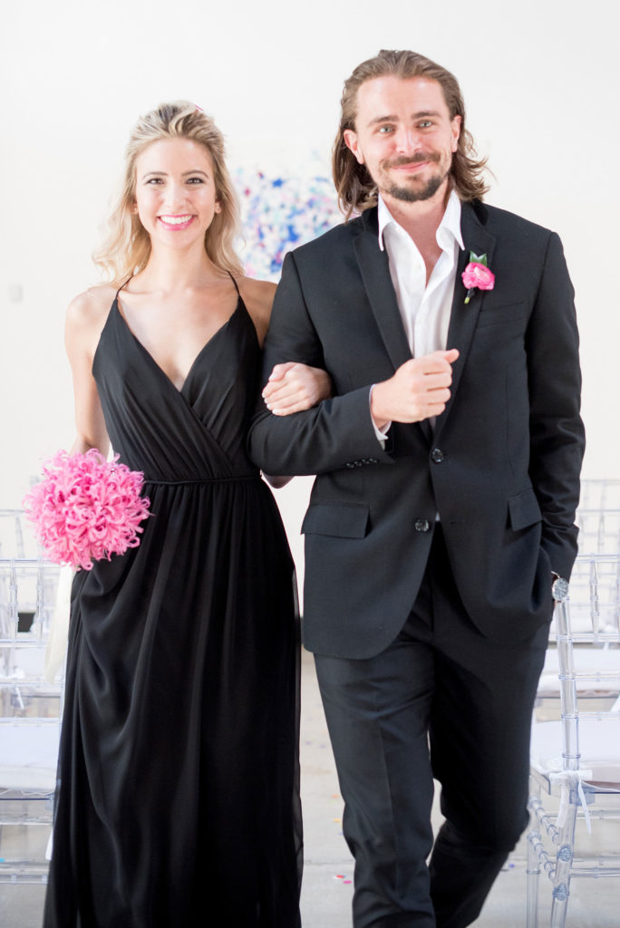 Mikkel Paige Photography photo of Dobbin St Brooklyn wedding. Planning and coordination by Color Pop Events. Bridesmaid and groomsman in classic black.