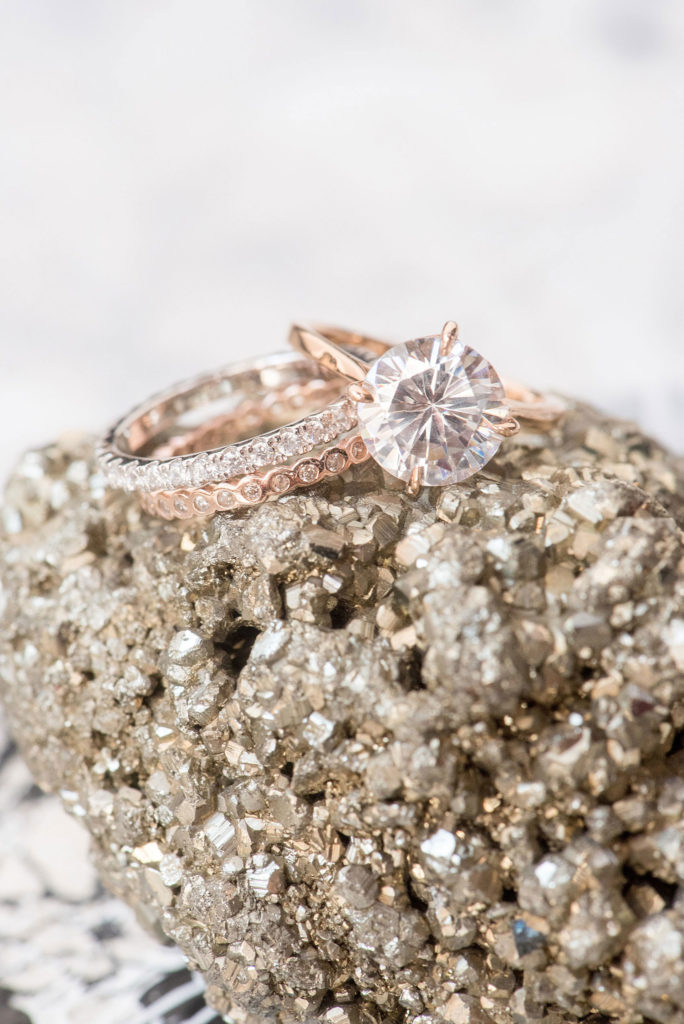 Mikkel Paige Photography photo of Dobbin St Brooklyn wedding. Planning and coordination by Color Pop Events. Rose gold and solitaire engagement ring by Susie Saltzman.
