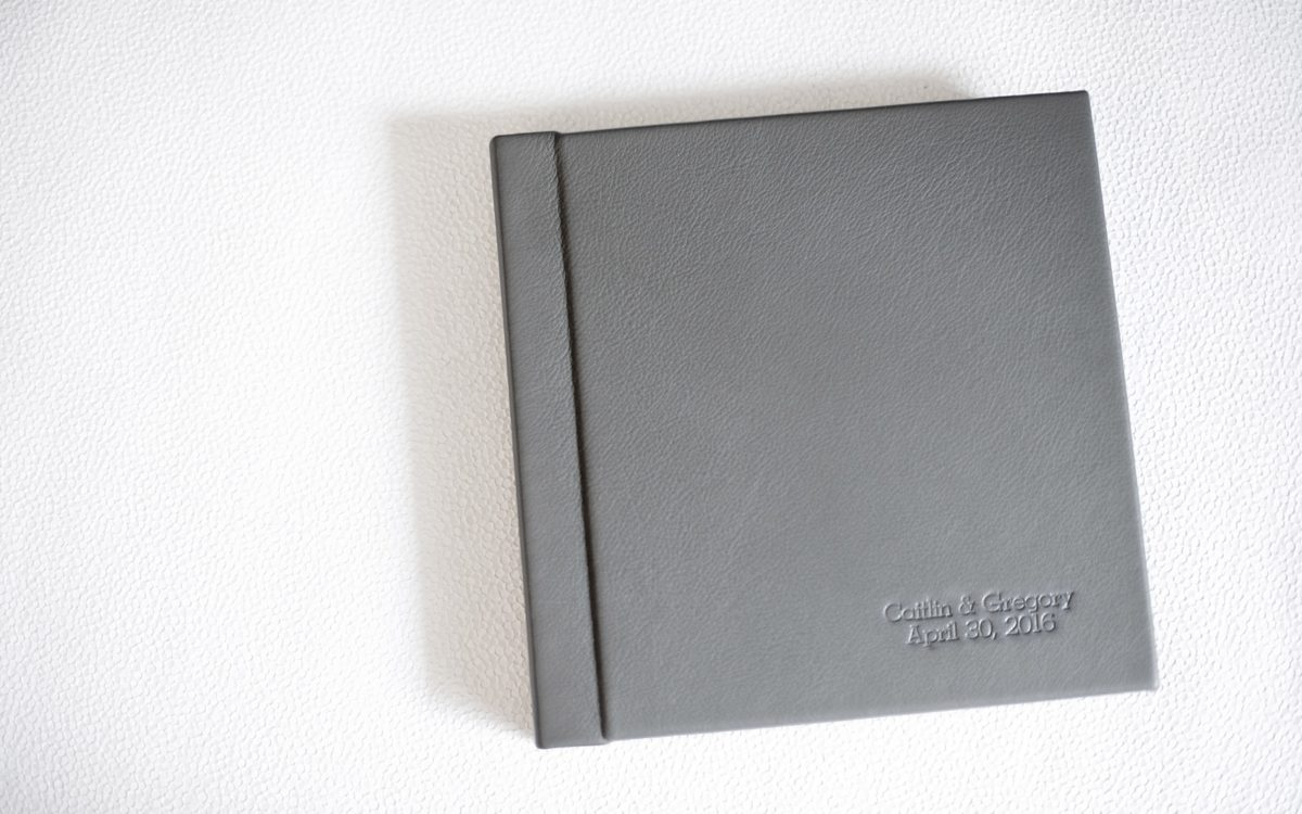 Grey Leather Wedding Album • Fine Art, Family Heirloom: Caitlin + Greg