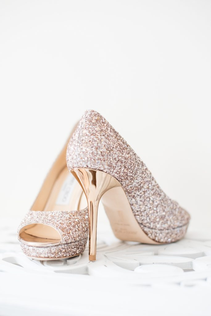 Mikkel Paige Photography photos from a Bay Head Yacht Club wedding in NJ. The bride wore gold glitter metallic heels by Jimmy Choo.