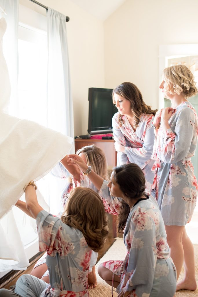Mikkel Paige Photography photo of a wedding in Bay Head, NJ. The bridesmaids got ready in floral blue robes.