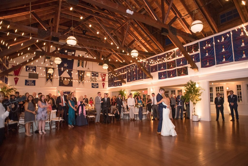 Mikkel Paige Photography picture of a Bay Head Yacht Club nautical wedding. The bride and groom share their first dance.