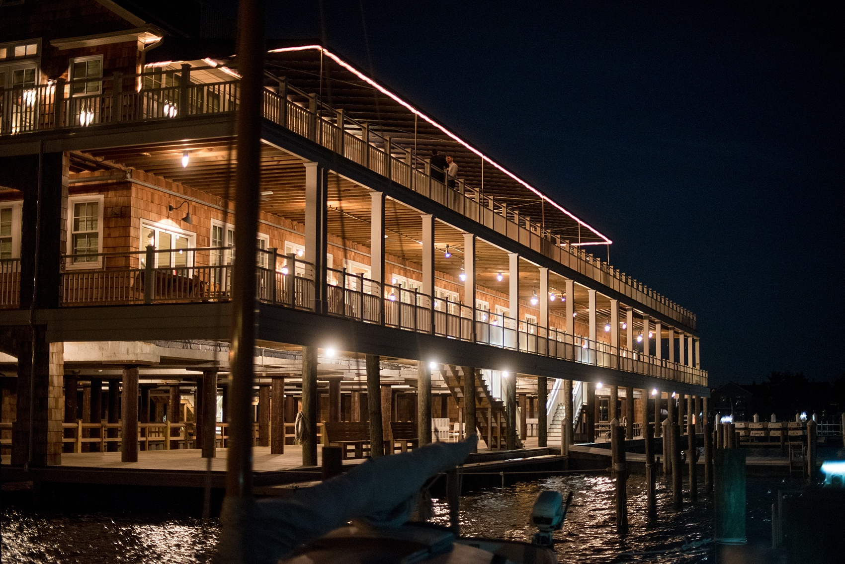 Mikkel Paige Photography night photo of a wedding at Bay Head Yacht Club on the water in New Jersey.
